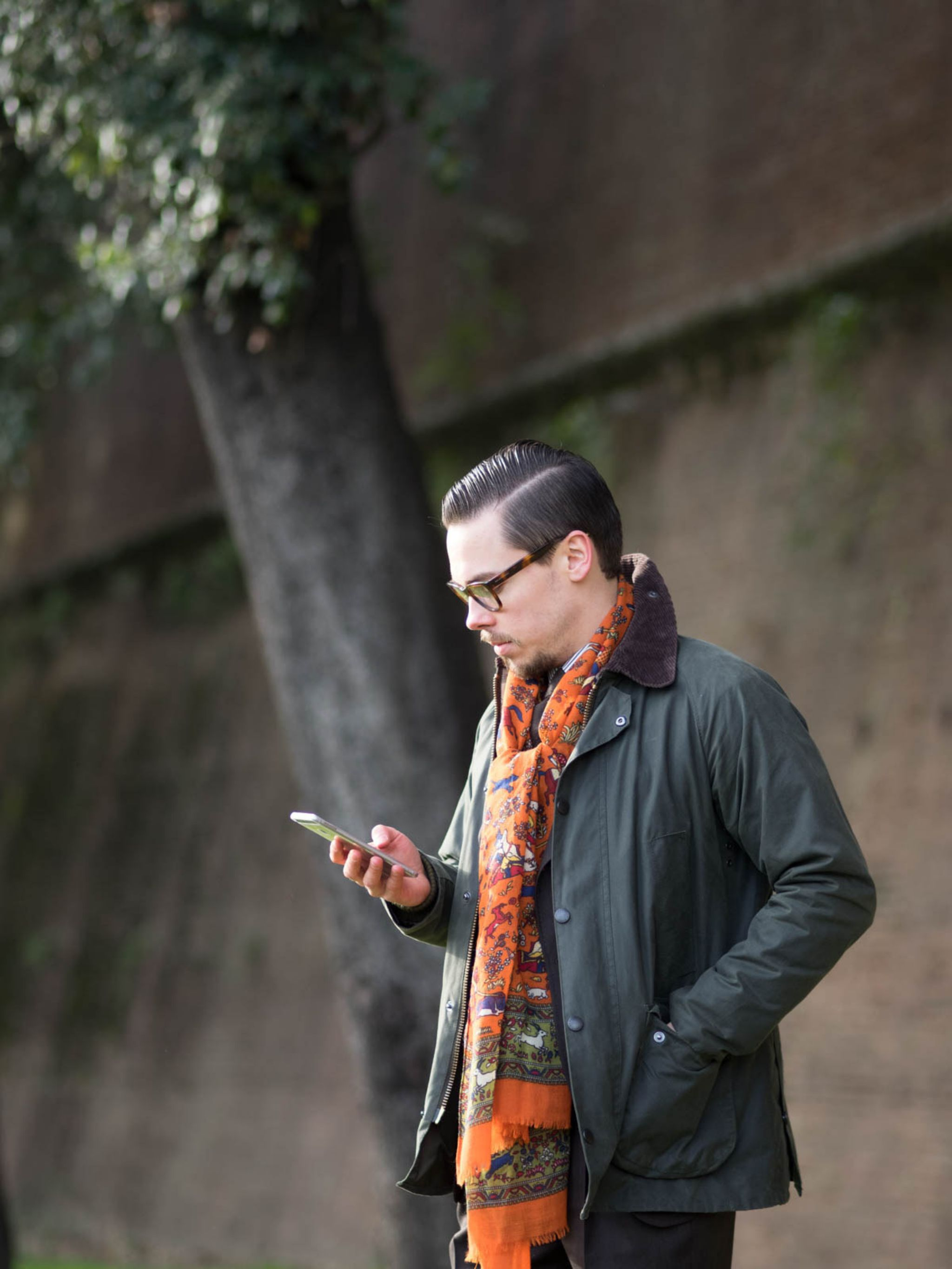 Pitti Uomo 91 DLA look book preview - Barbour Bedale SL jacket with orange scarf