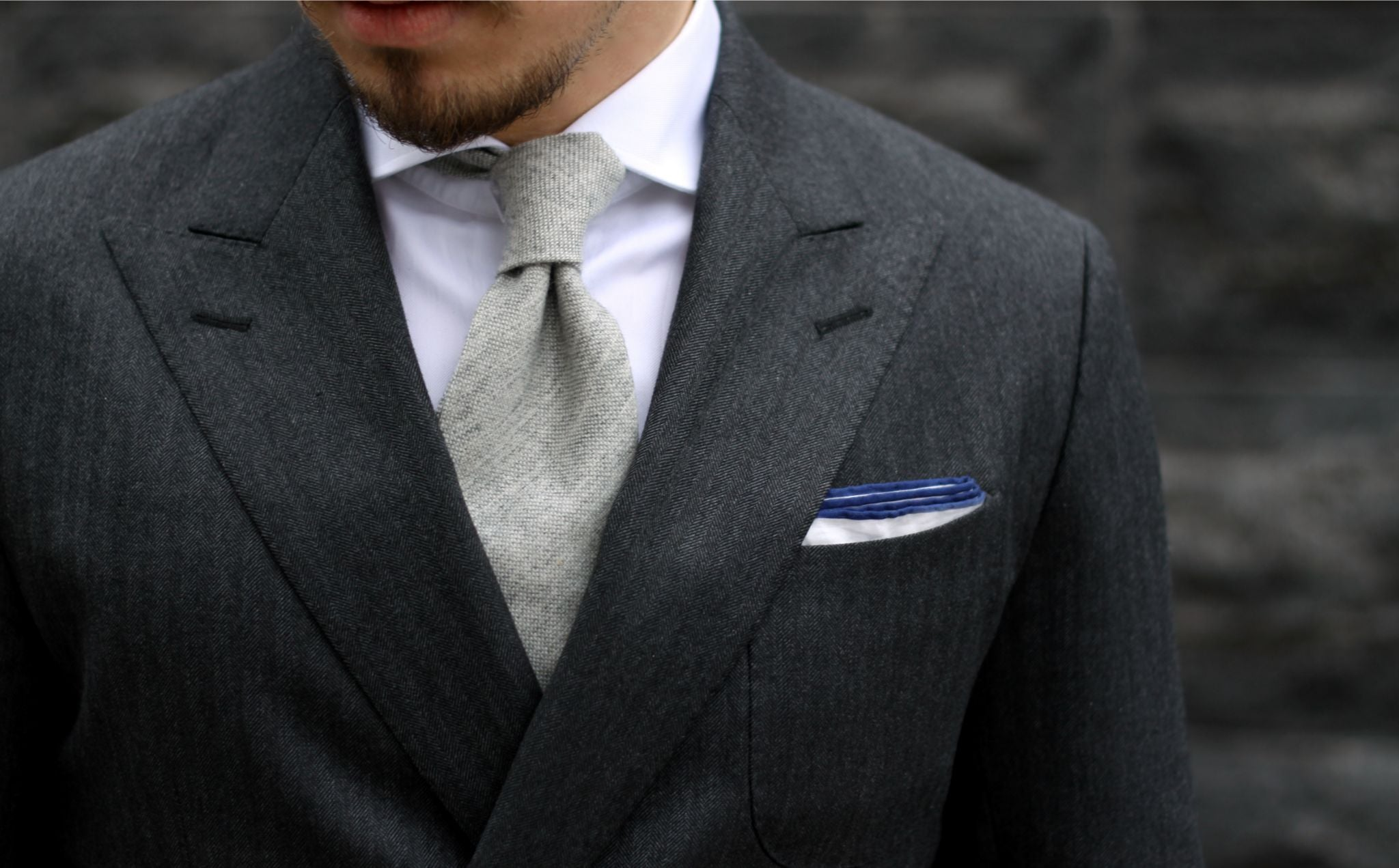 How to dress down a suit - wearing a gray cashmere tie