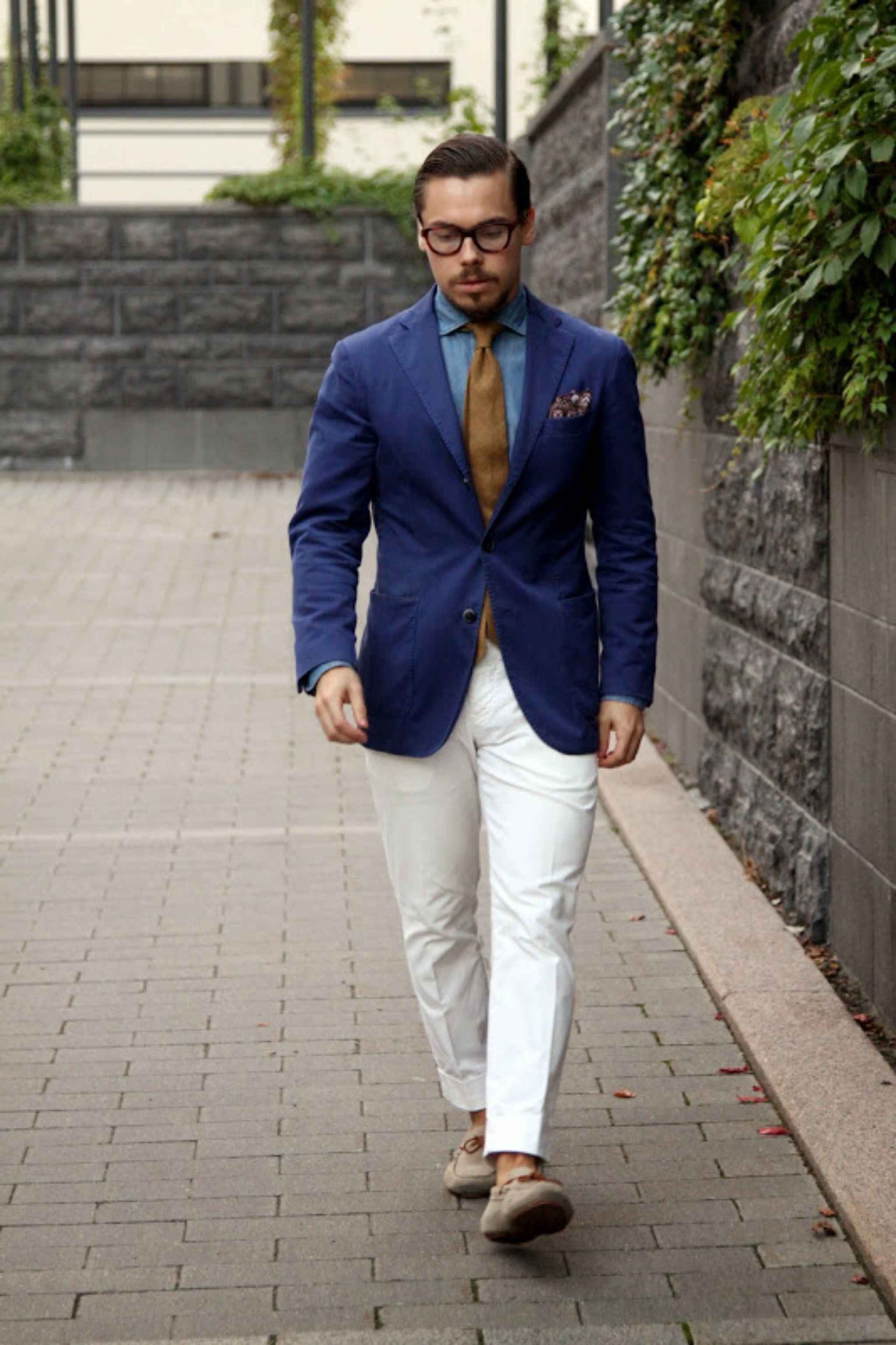 Driving mocs with blue blazer and white trousers