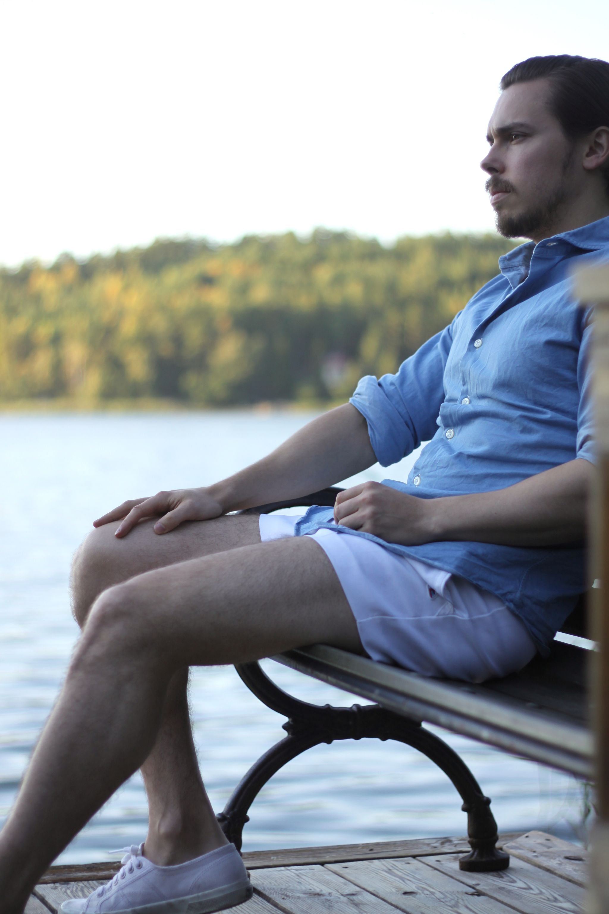 Relaxing - Denim shirt and tennis shorts