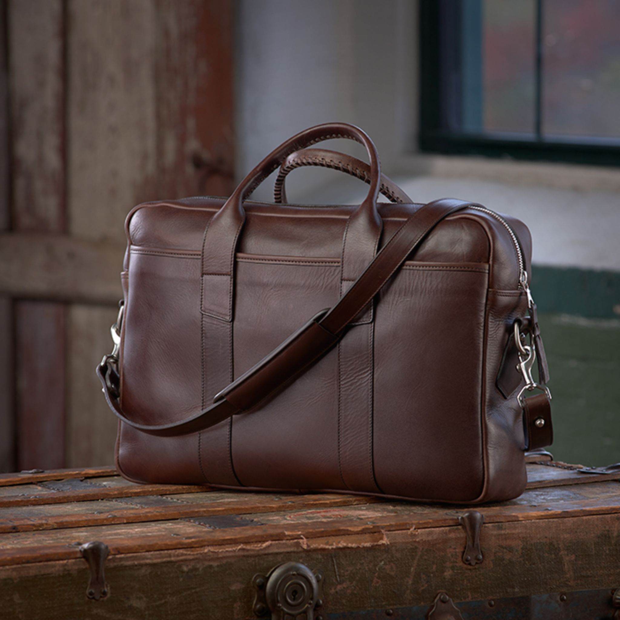Frank Clegg brown leather briefcase