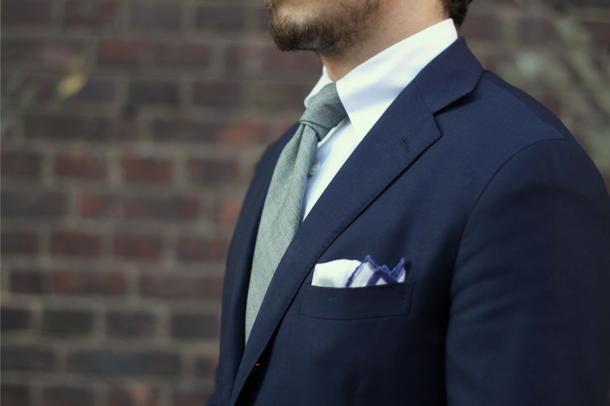 Dark blue suit for business casual - Suit with button-down collar shirt and gray wool tie