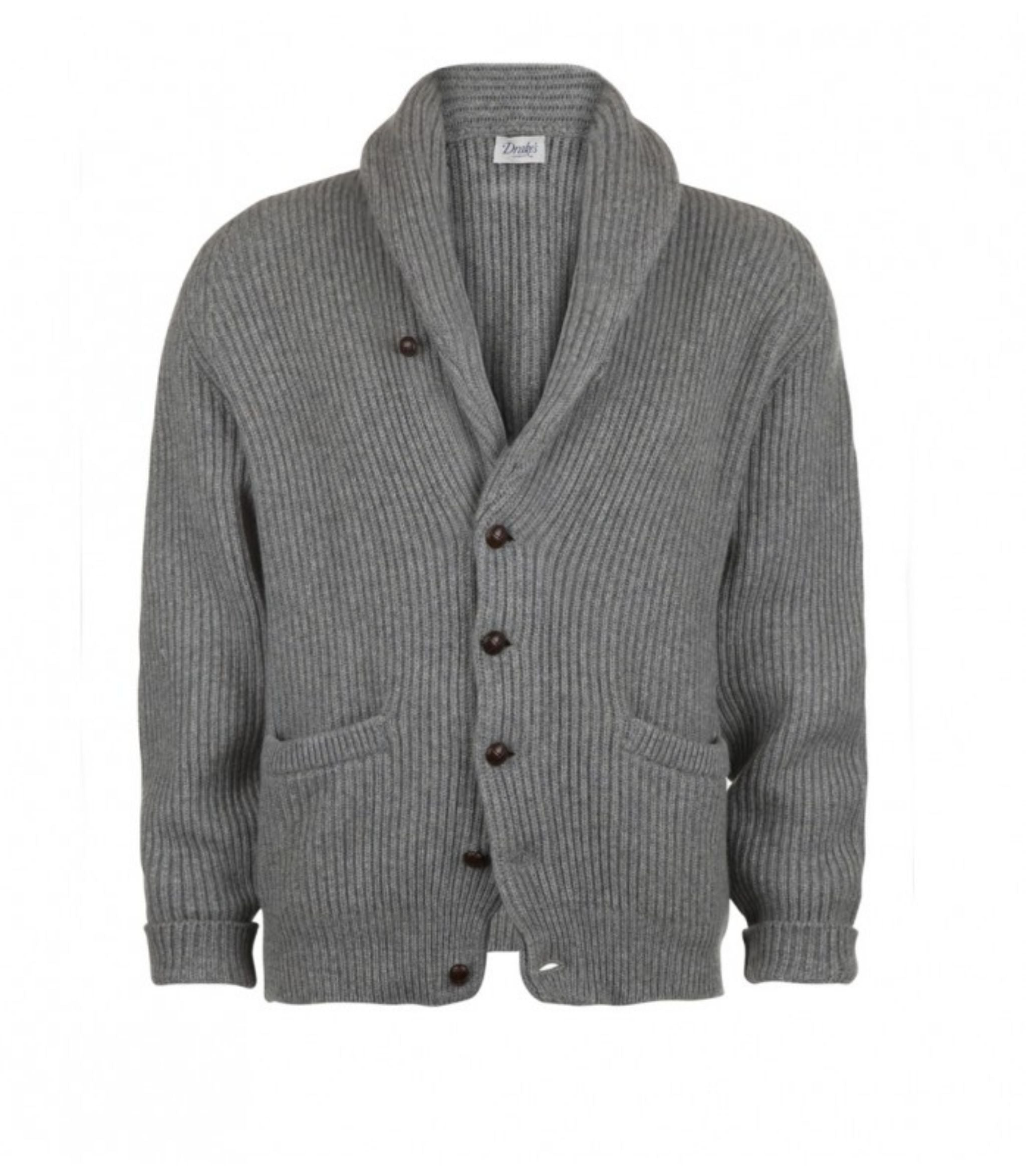 Gray cashmere shawl collar cardigan