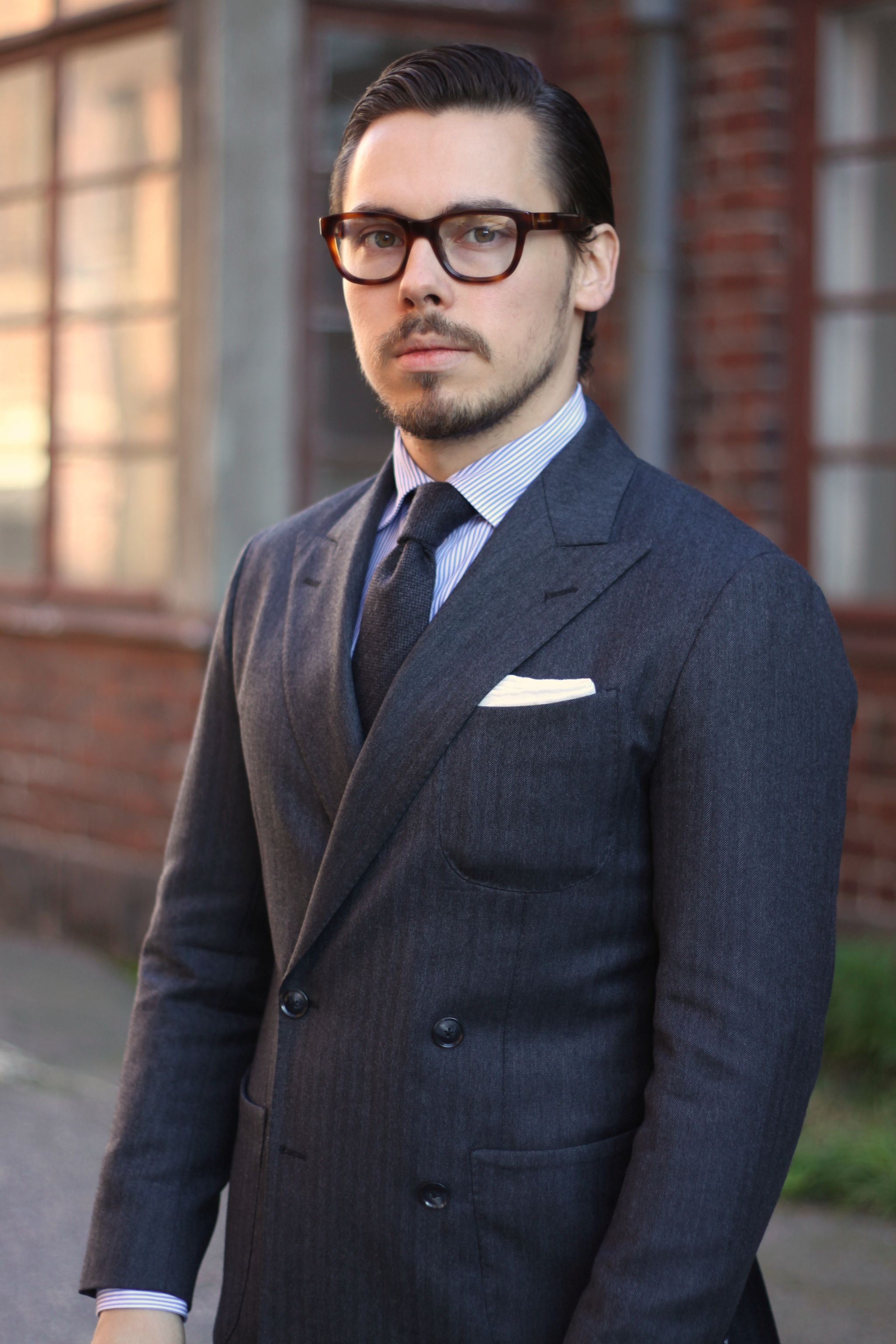 Gray double-breasted suit by rose&born