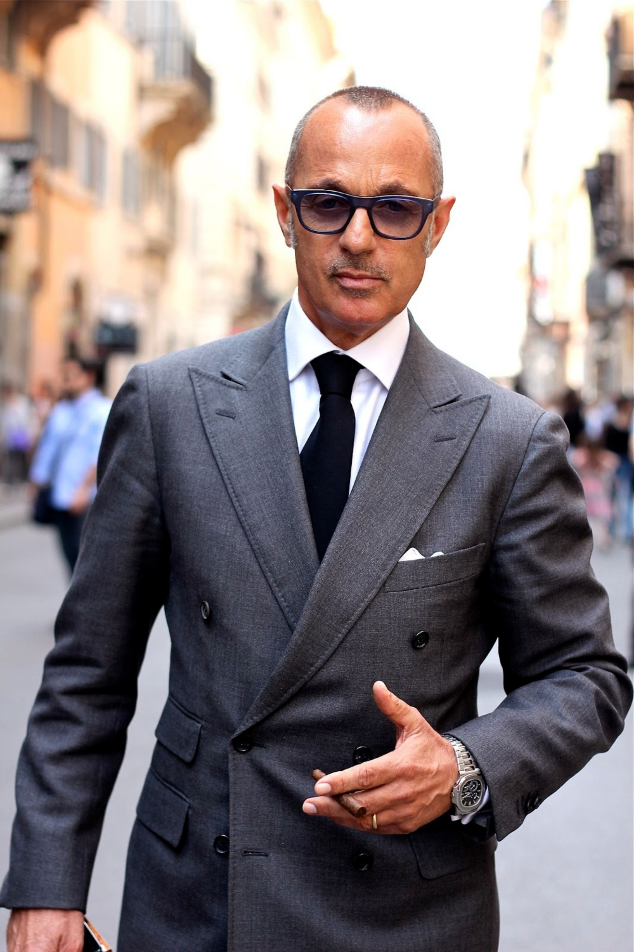 Gray double-breasted suit in Rome