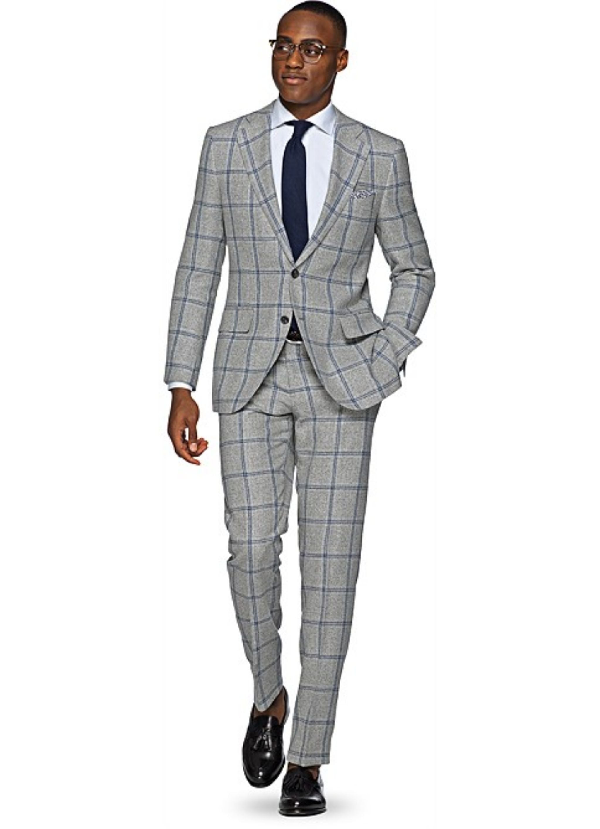 Gray windowpane suit - suitsupply lazio fit with a tie
