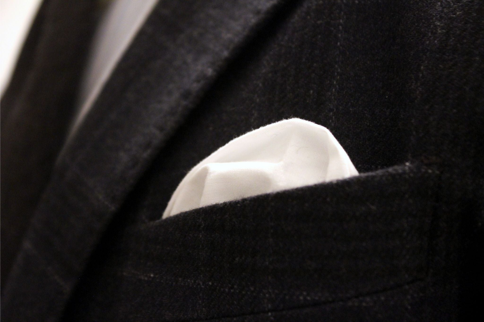 Grey wool blazer and white cotton pocket square