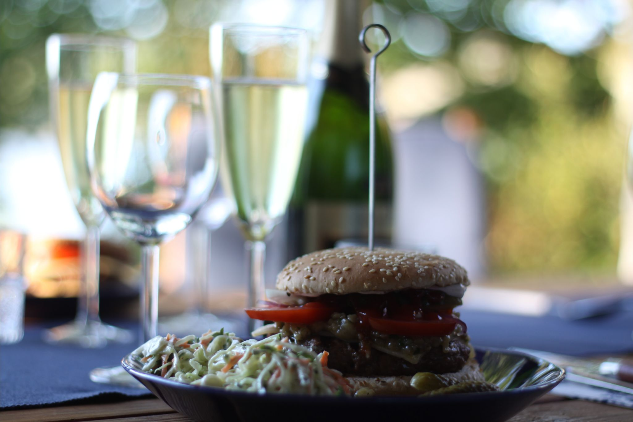 Homemade burgers and champagne