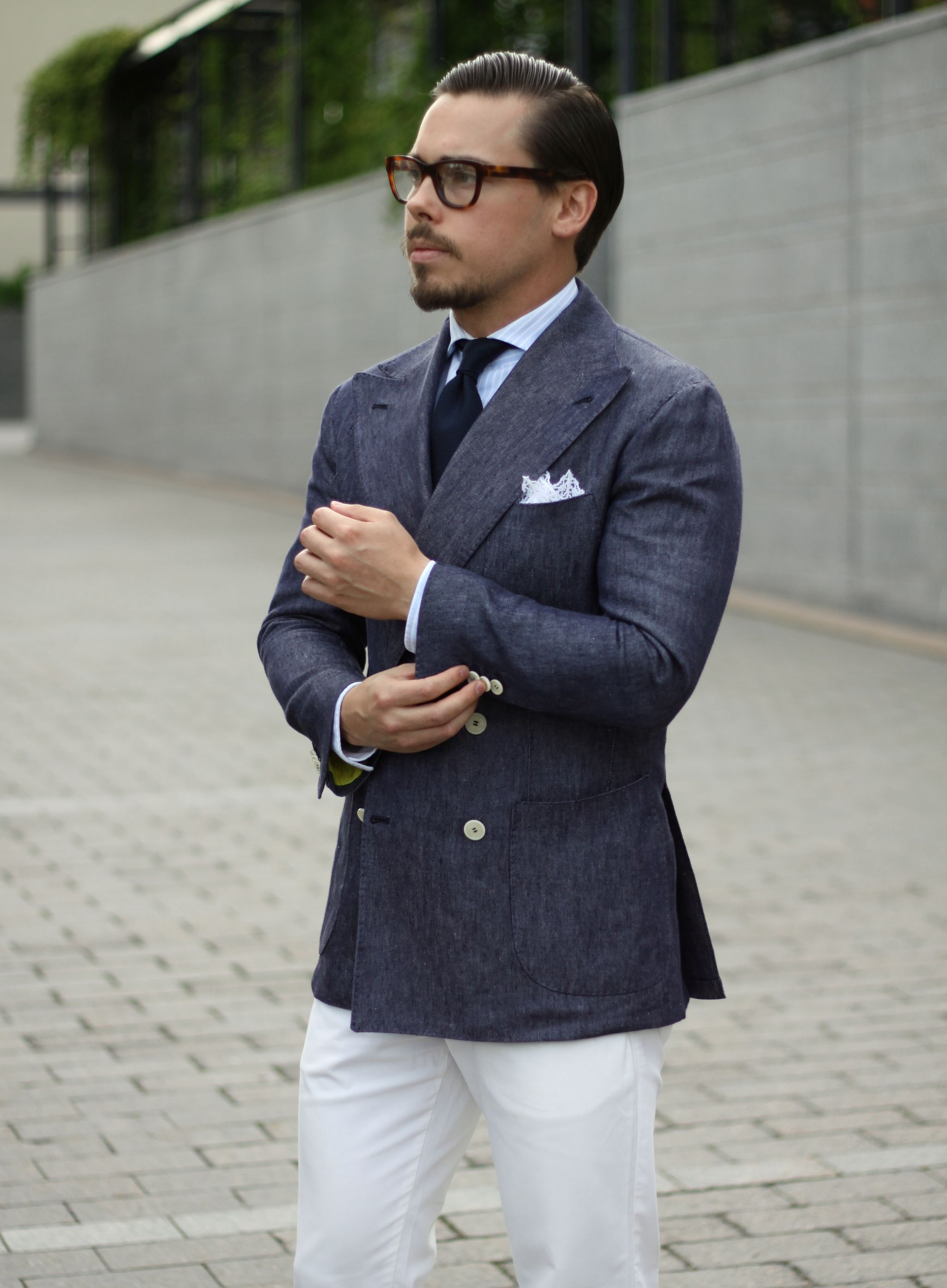 Indigo denim linen blazer with white cotton trousers