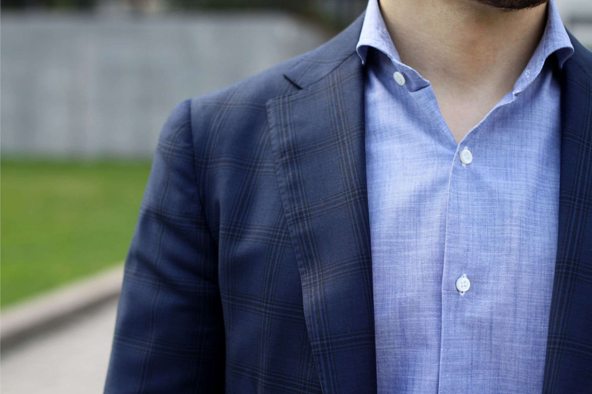 Isaia chambray shirt with blue blazer
