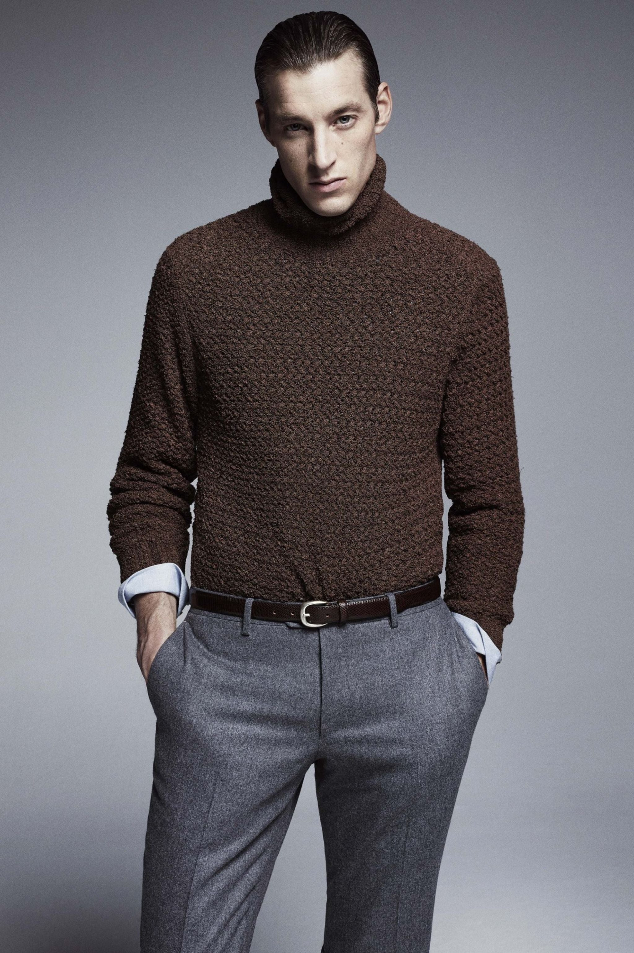 Lardini FW15 - Gray flannel trousers with chunky knitwear