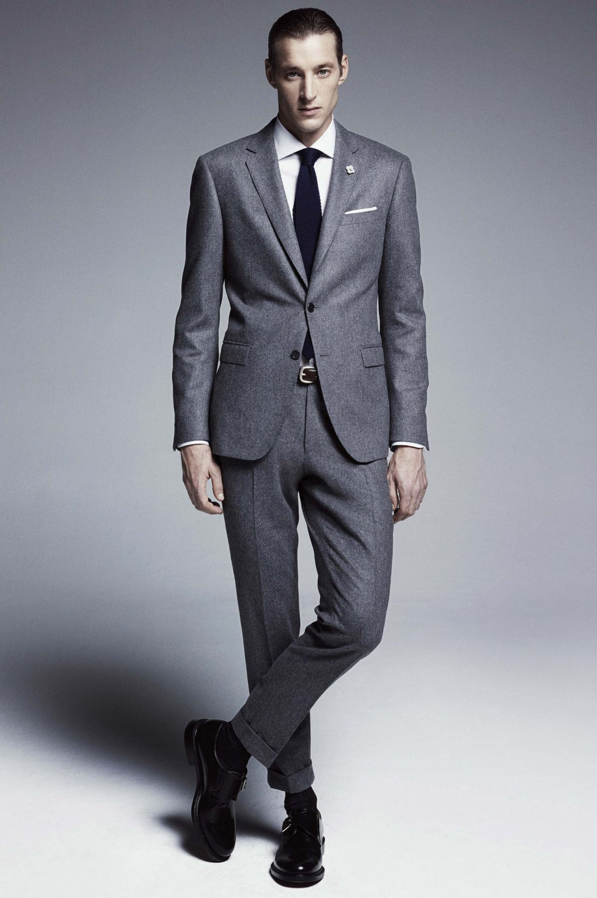 Lardini FW15 - Gray flannel suit with plain toe bluchers
