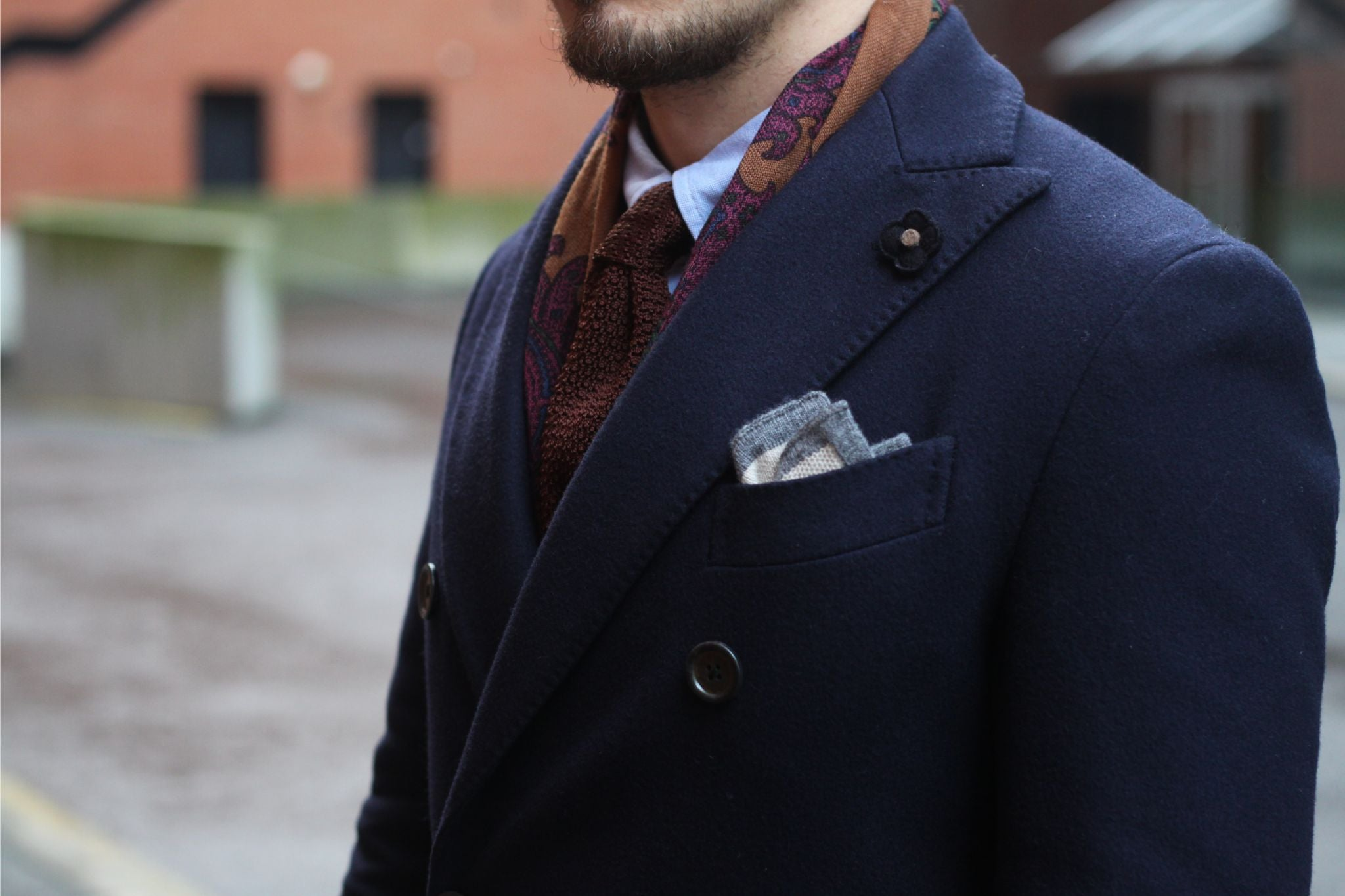 Blue jersey sport coat with corduroy trousers - Lardini dark blue wool overcoat with wool pocket square