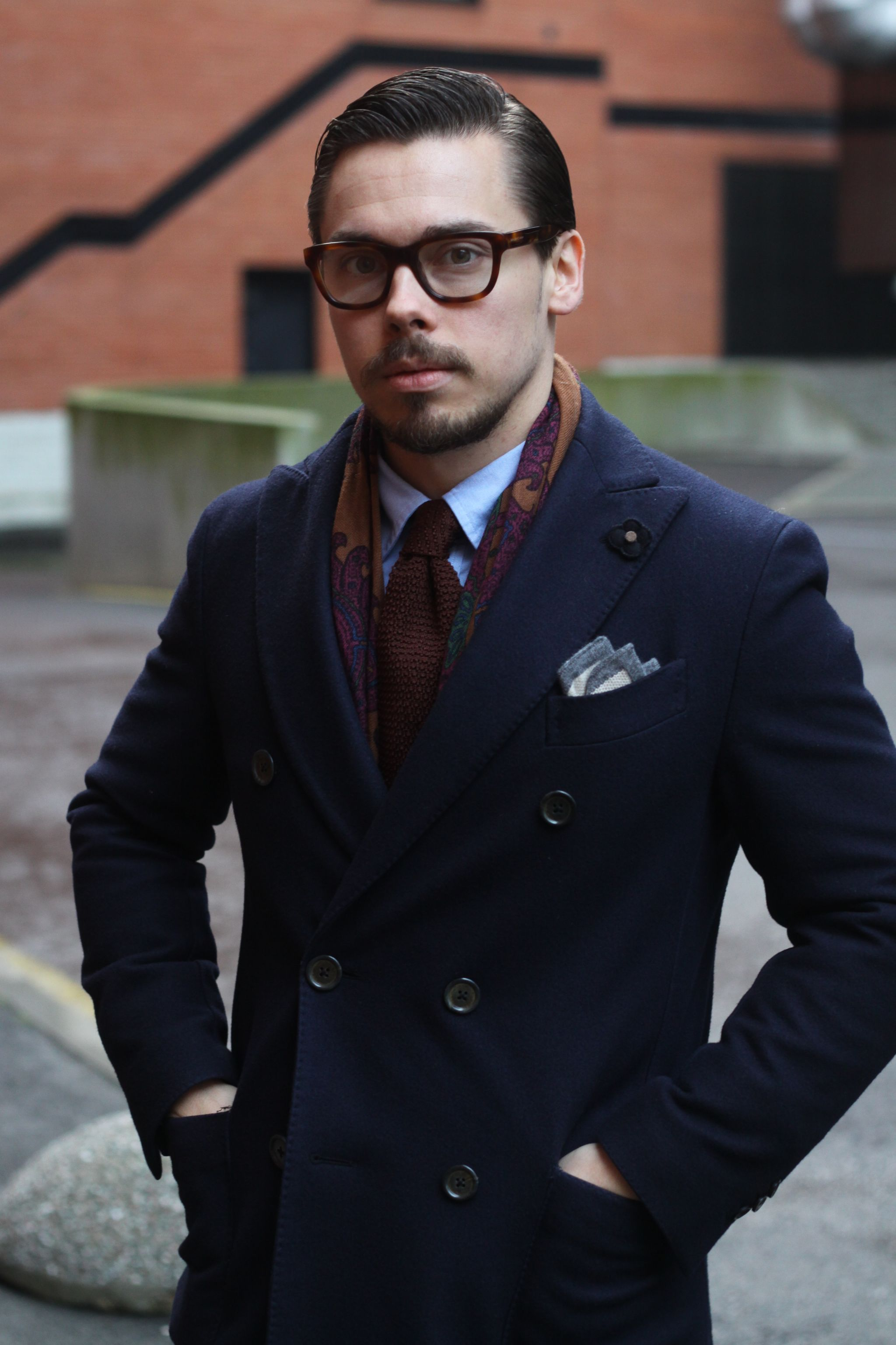Blue jersey sport coat with corduroy trousers - Lardini double-breasted wool overcoat