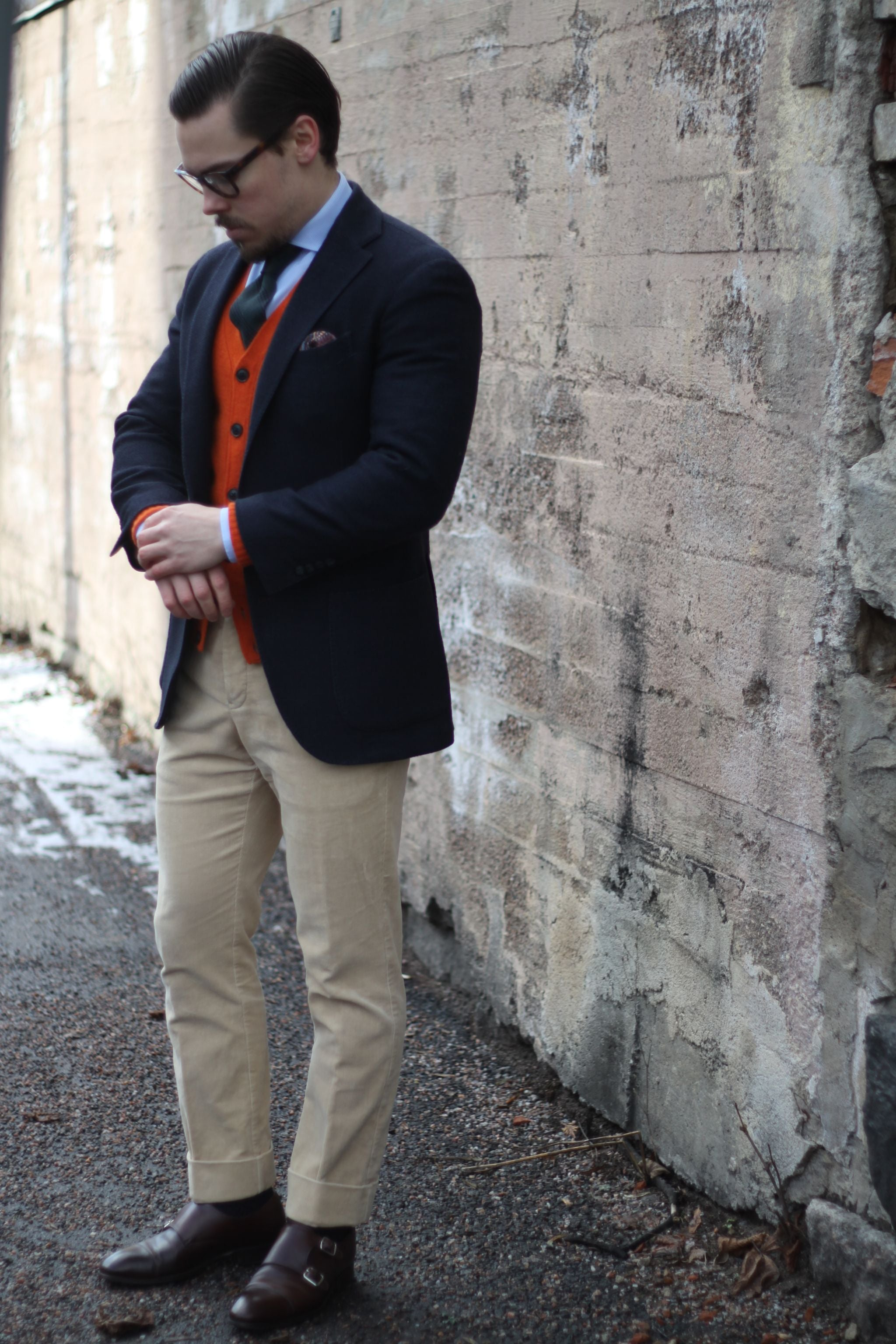 Cardigan with sport coat - blue blazer with cardigan, sand colored trousers and brown double monks by Carmina