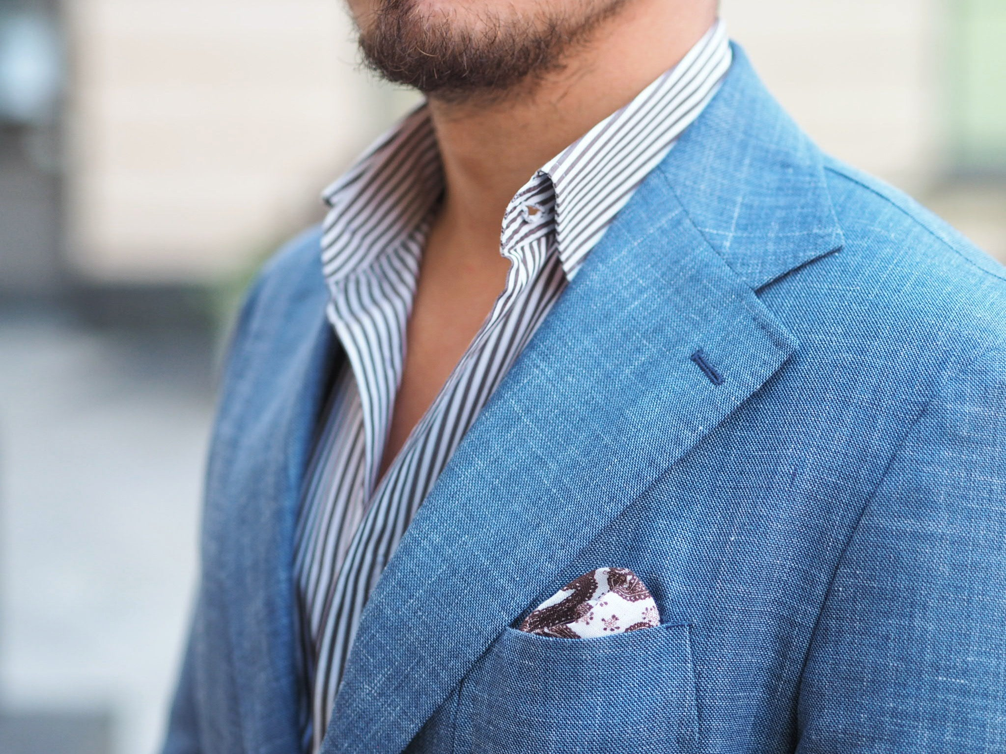 Light blue suit for summer - pocket square details