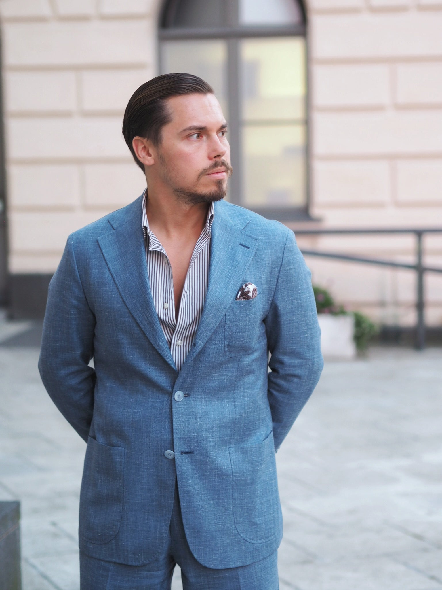 Light blue suit for summer - with striped shirt and brown linen pocket square