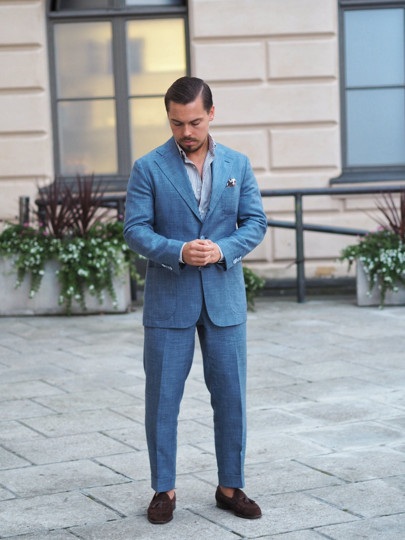 Light blue suit for summer - the suit with brown suede tassel loafers