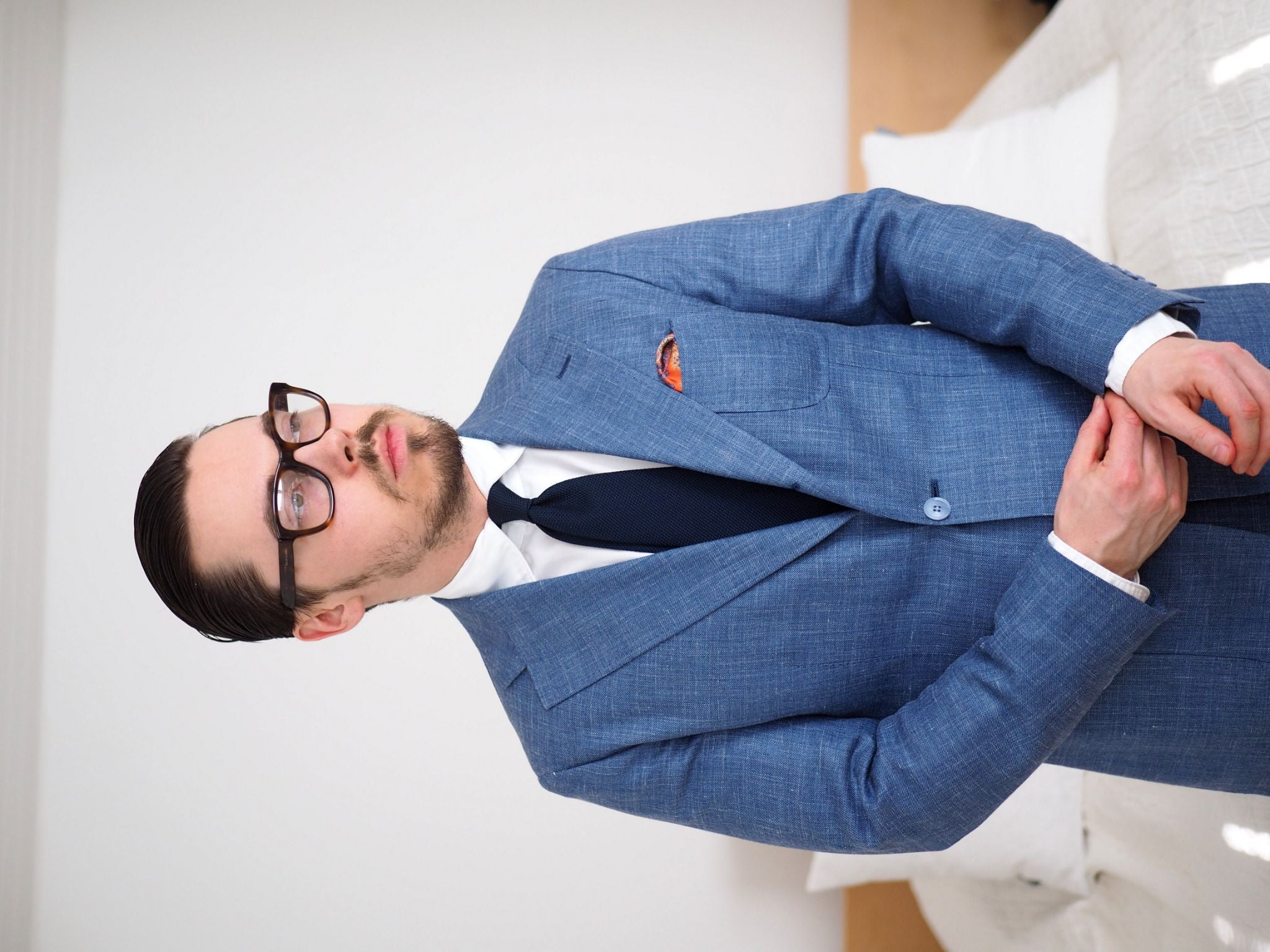 Blue suits - Light blue wool-silk-linen suit with navy grenadine tie and white DLA shirt