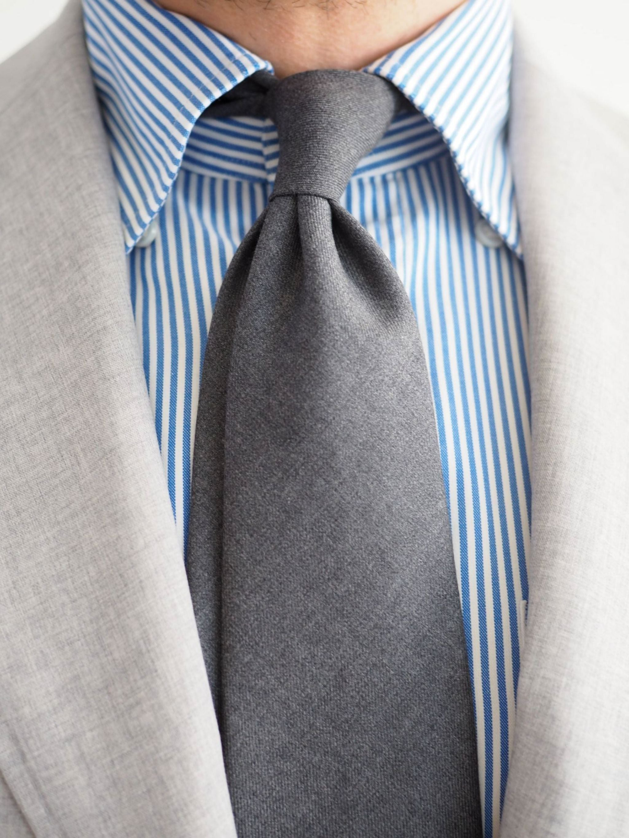 Favorite suiits - DLA gray wool tie with light gray suit and striped shirt