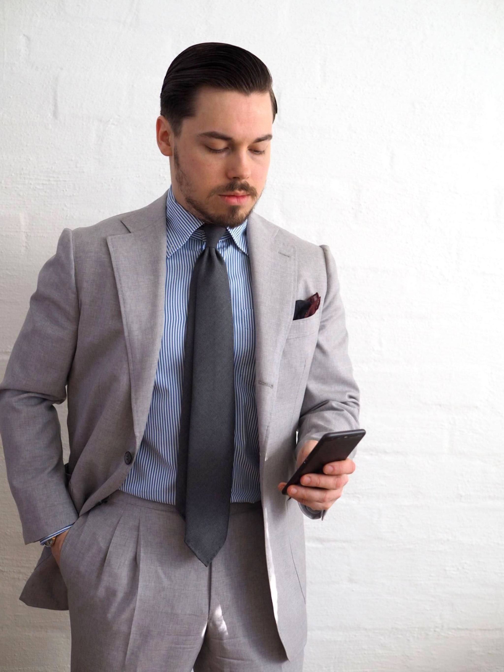 Favorite suits - light gray wool suit with gray wool tie