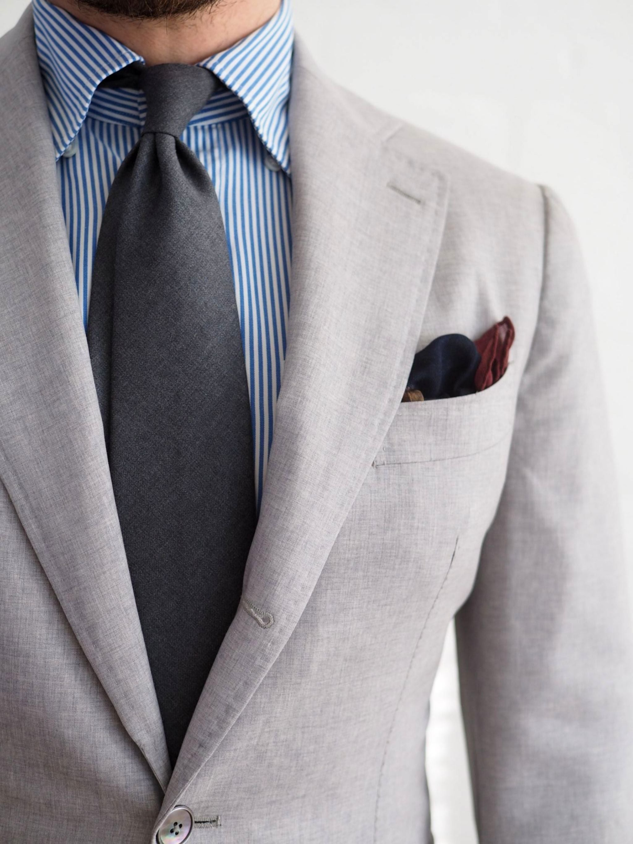 Favorite suits - Gray lightweight wool suit with button-down shirt and DLA gray wool tie