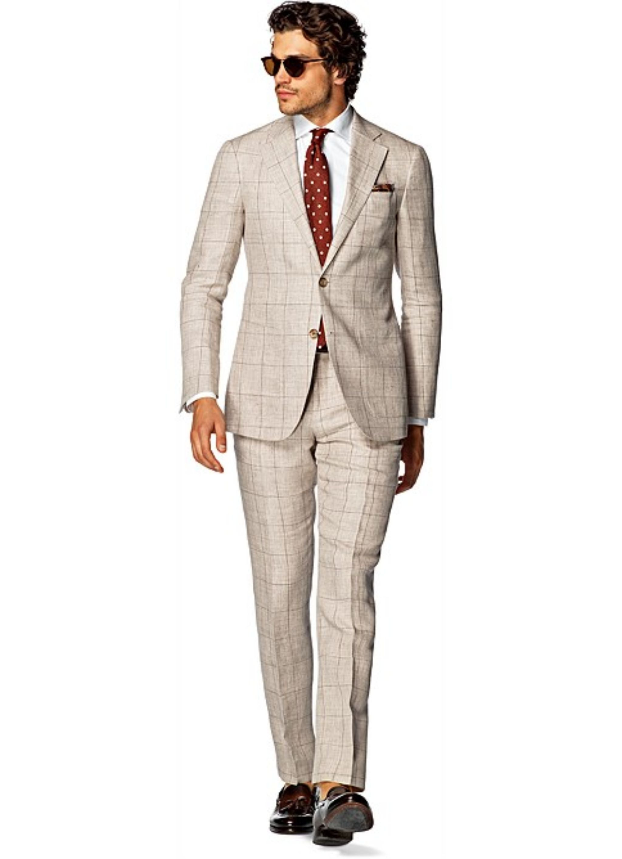 Linen windowpane suit - Suitsupply Hudson fit with polka dot tie