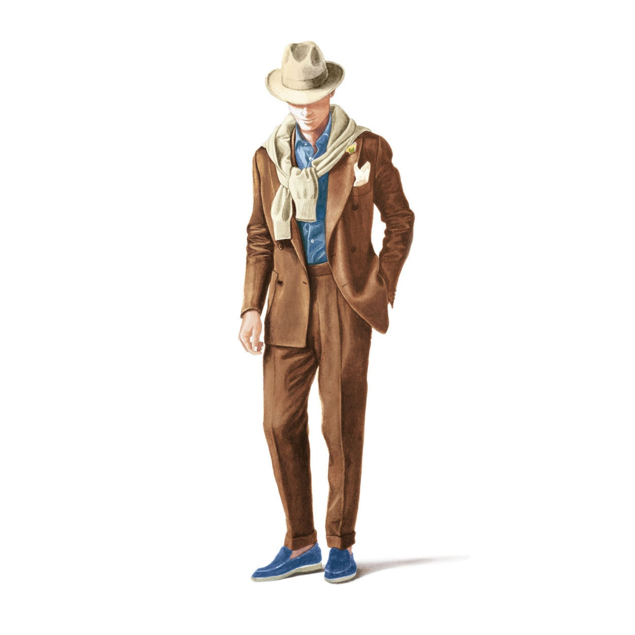 Loro Piana spring and summer 2016 brown double-breasted suit