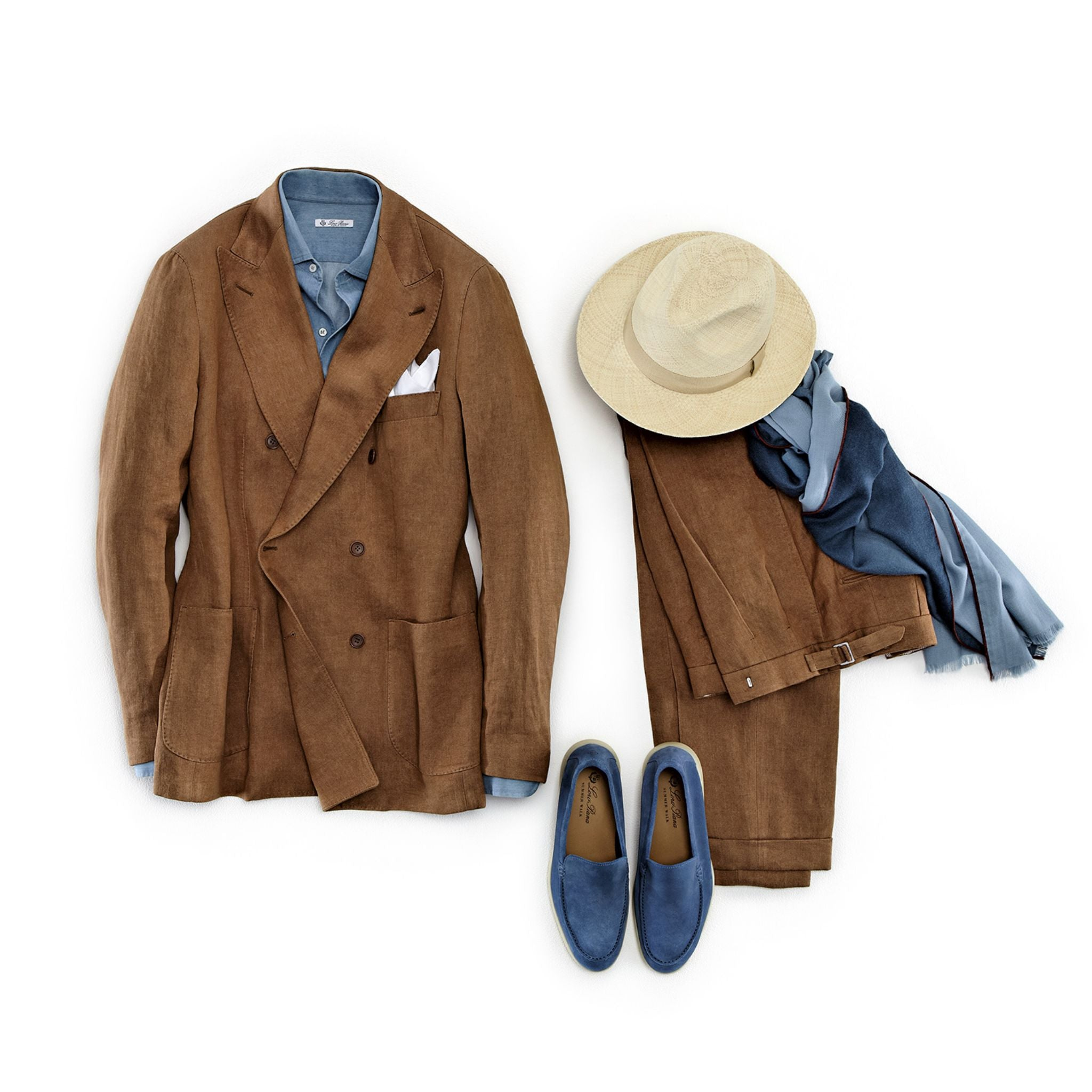 Loro Piana spring and summer 2016 double-breasted linen suit with denim shirt