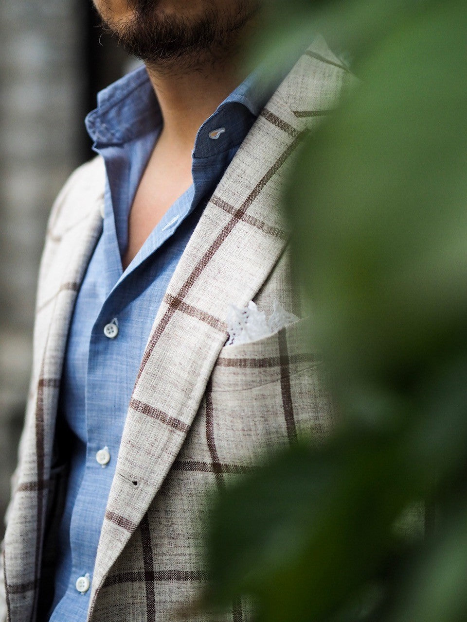 Made-to-measure windowpane suit jacket with chambray shirt