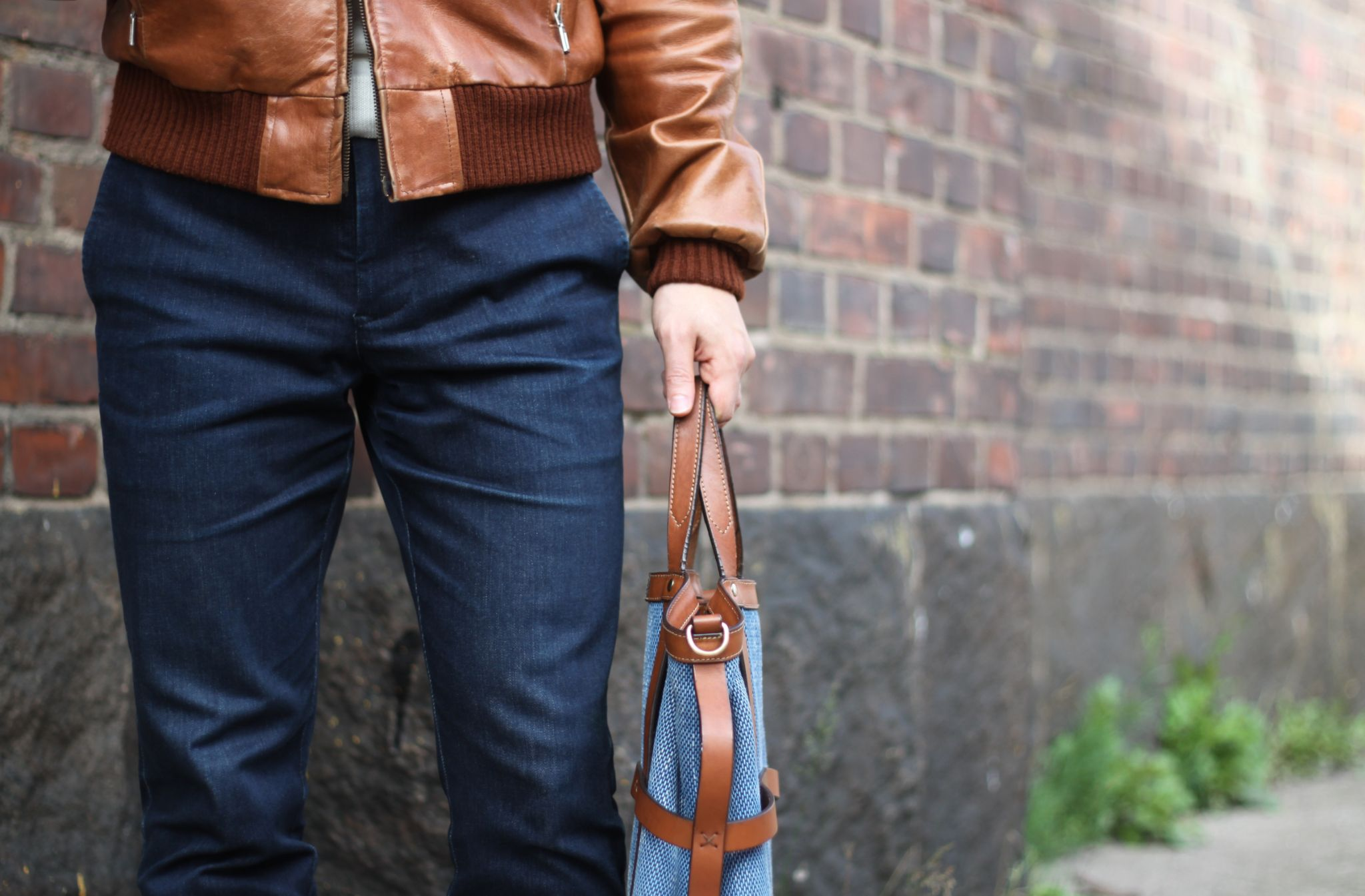 Mismo bag details and A-1 leather jacket.