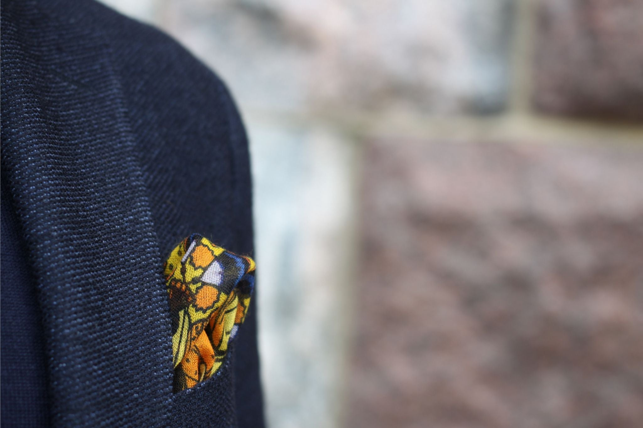 Monsieur Fox pocket square with blue blazer