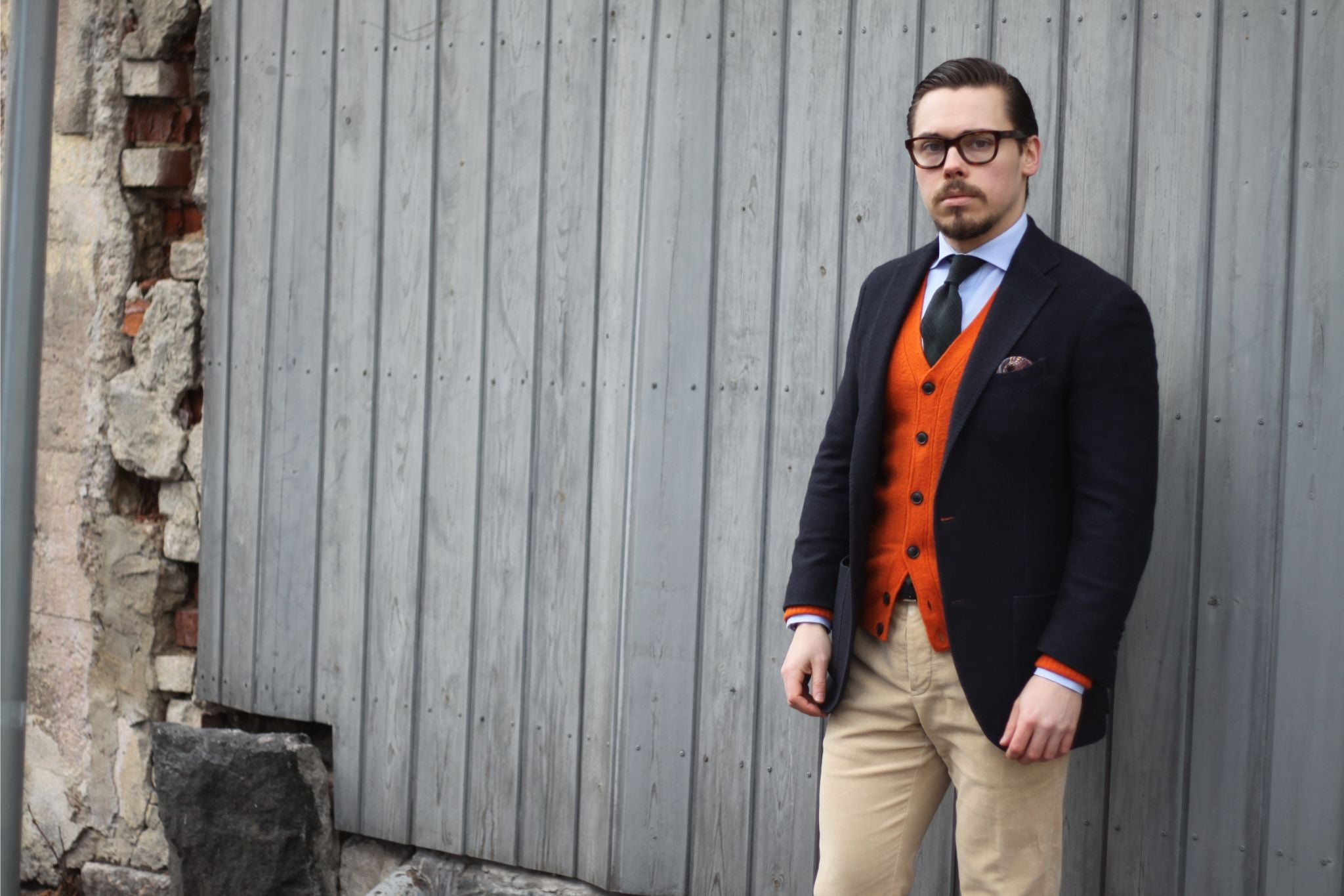 Cardigan with sport coat - blue blazer with orange cardigan and corduroy trousers