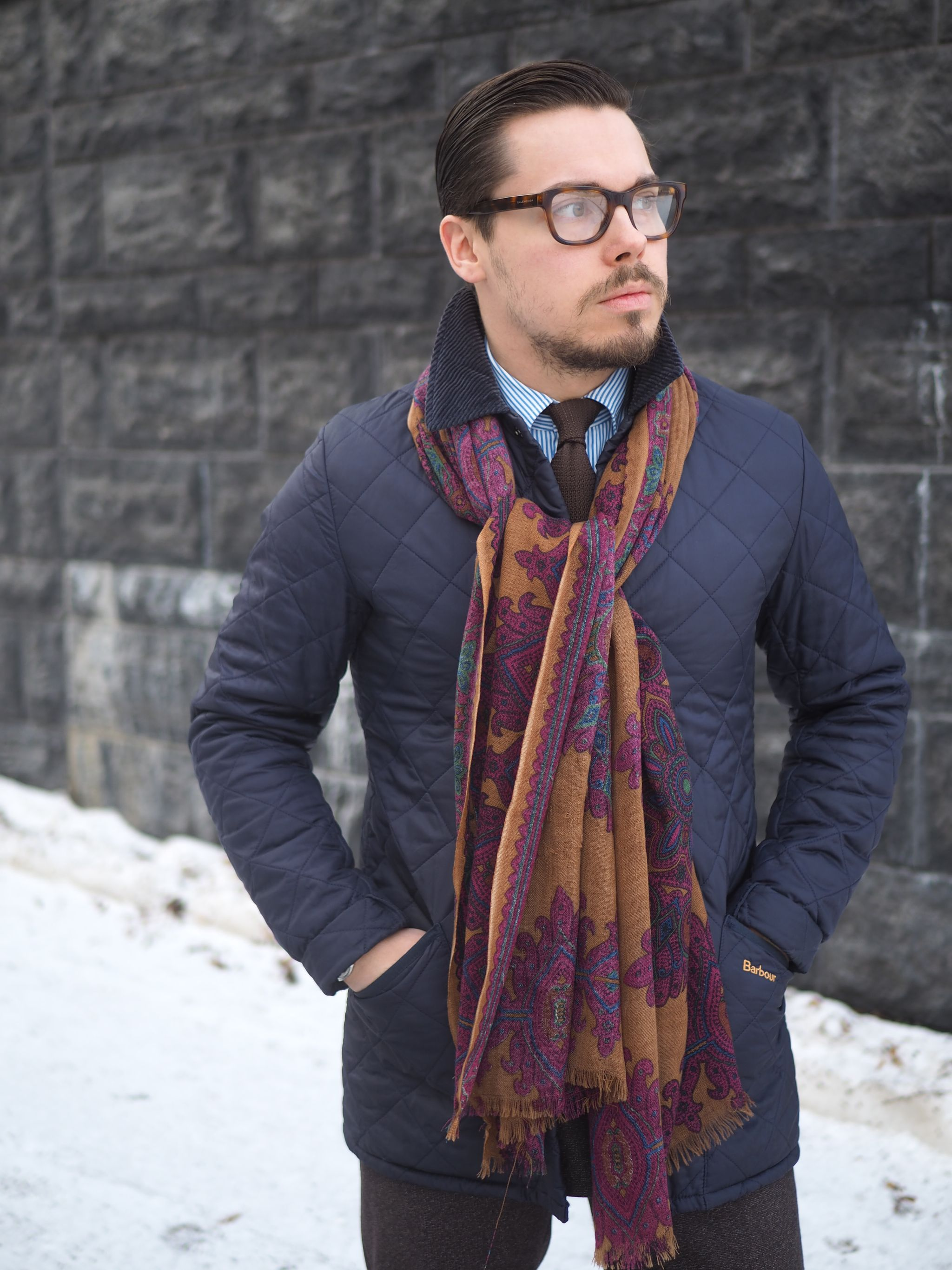 Barbour quilted jacket and wool scarf with the brown suit.
