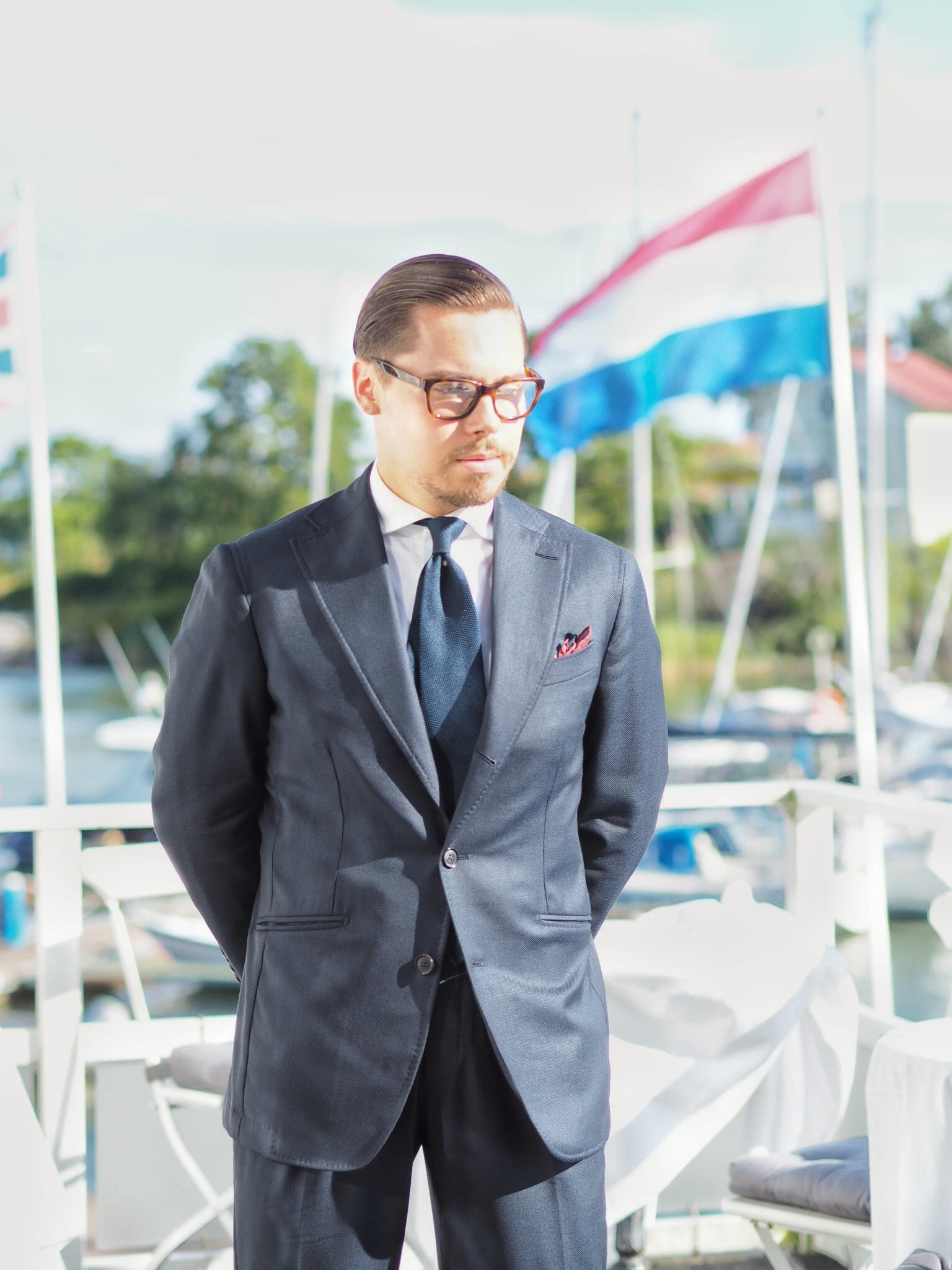 Blue suit for summer weddings party - Herrainpukimo mtm-suit with DLA navy blue grenadine tie and white DLA oxford shirt