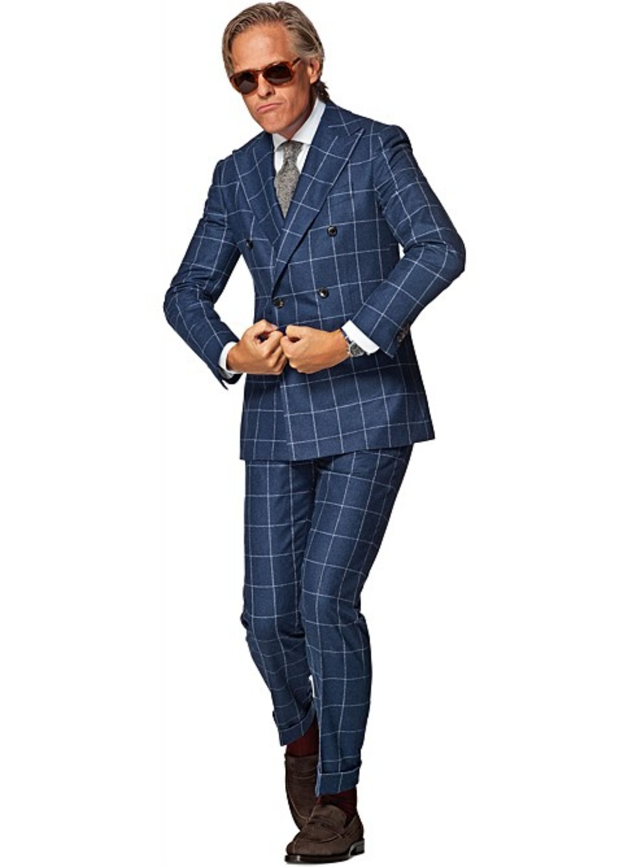 Navy blue windowpane suit - Suitsupply Jort fit with a gray tie