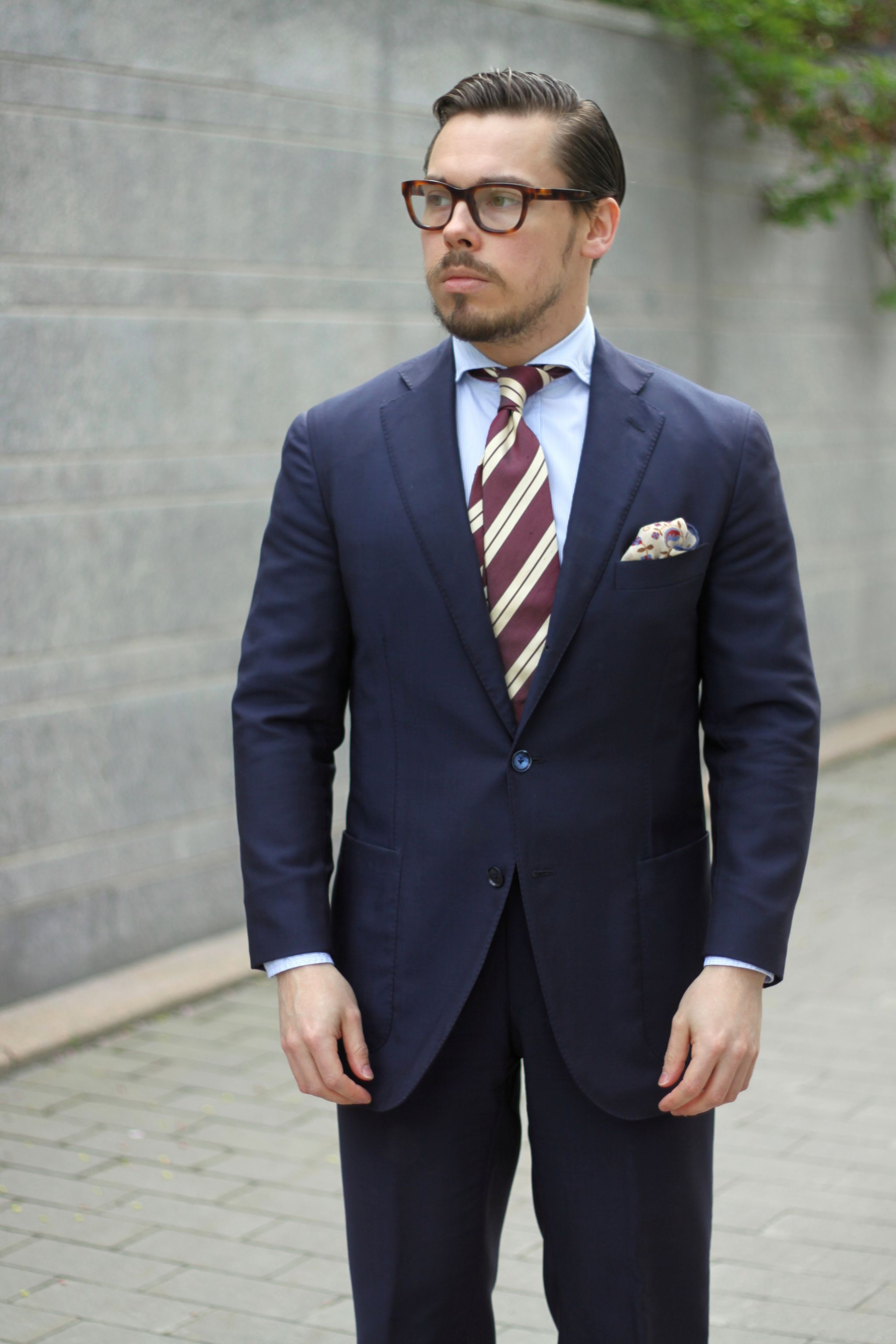 Burgundy accessories - navy blue wool suit with light blue shirt and burgundy tie