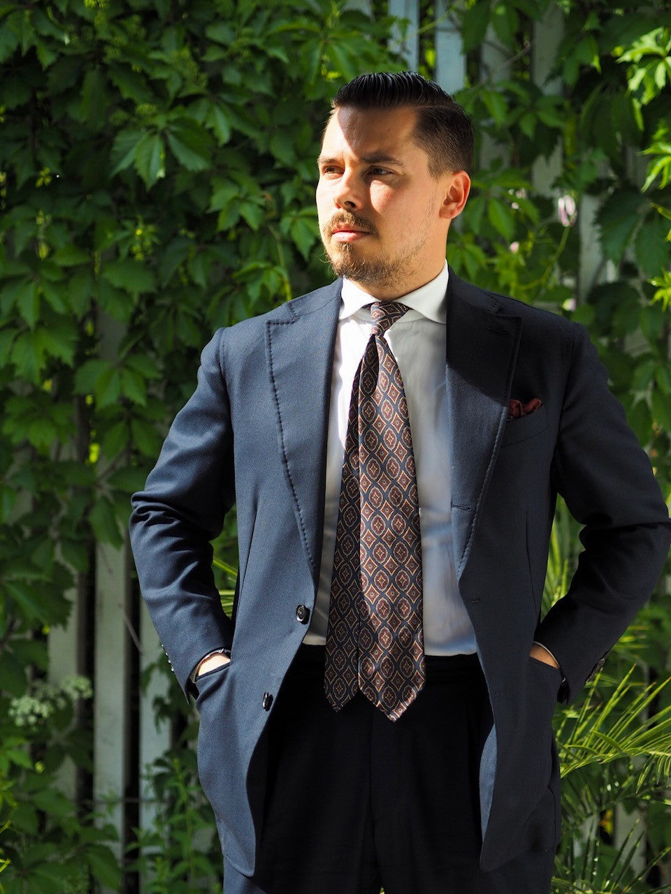Navy blue mtm suit with vintage DLA tie and white shirt
