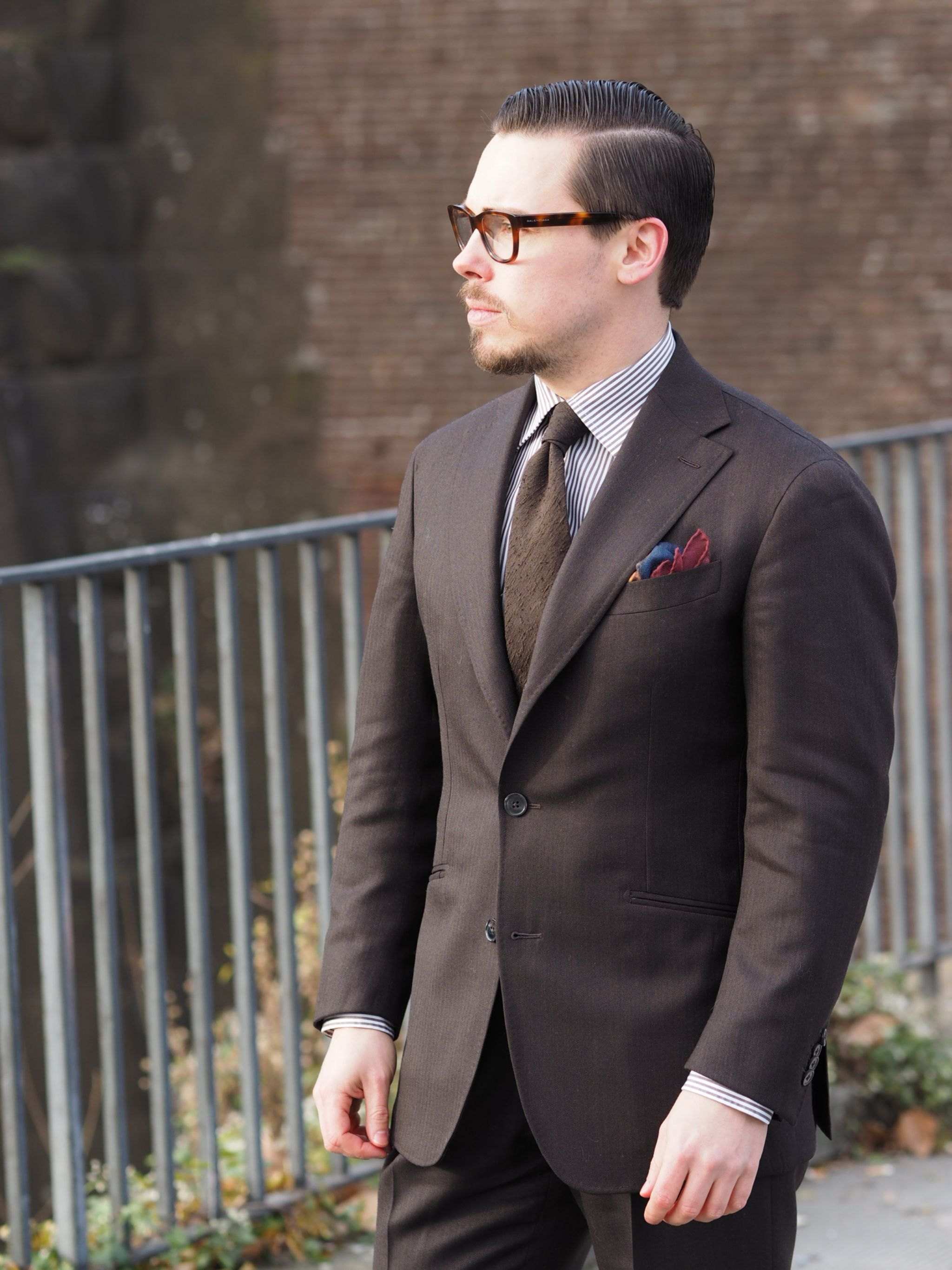 Pitti Uomo 91 DLA look book preview - brown wool suit with brown shantung silk tie and striped shirt
