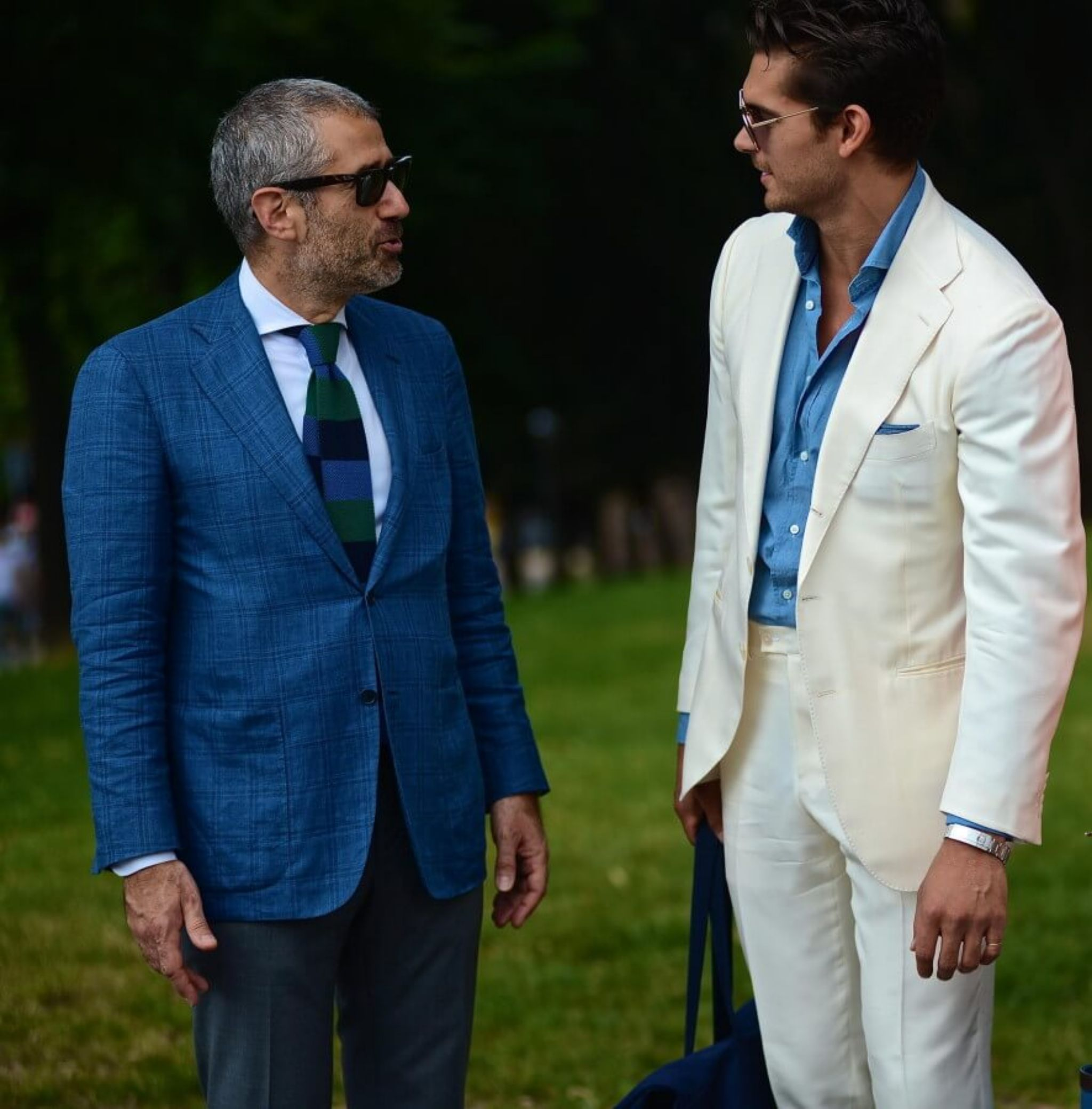 Off white silk suit with denim shirt