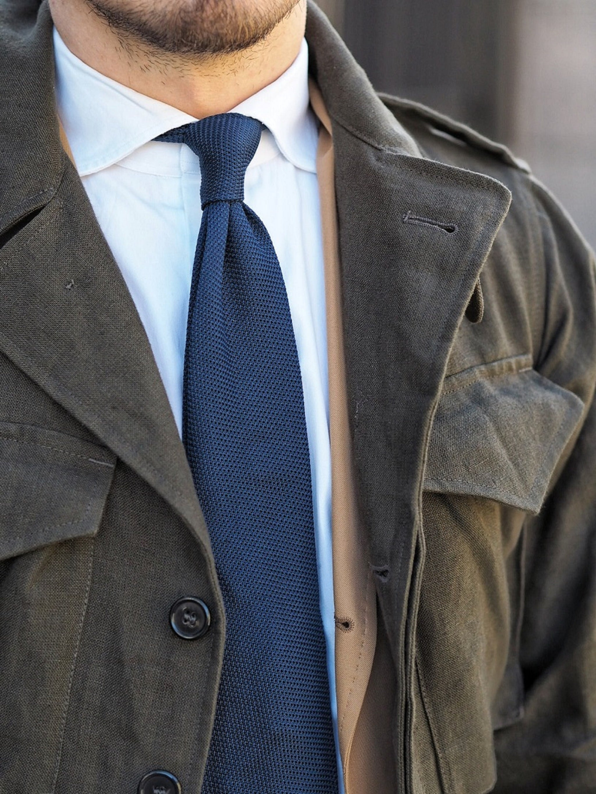 Olive-green-M43-jacket-with-suit-and-tie