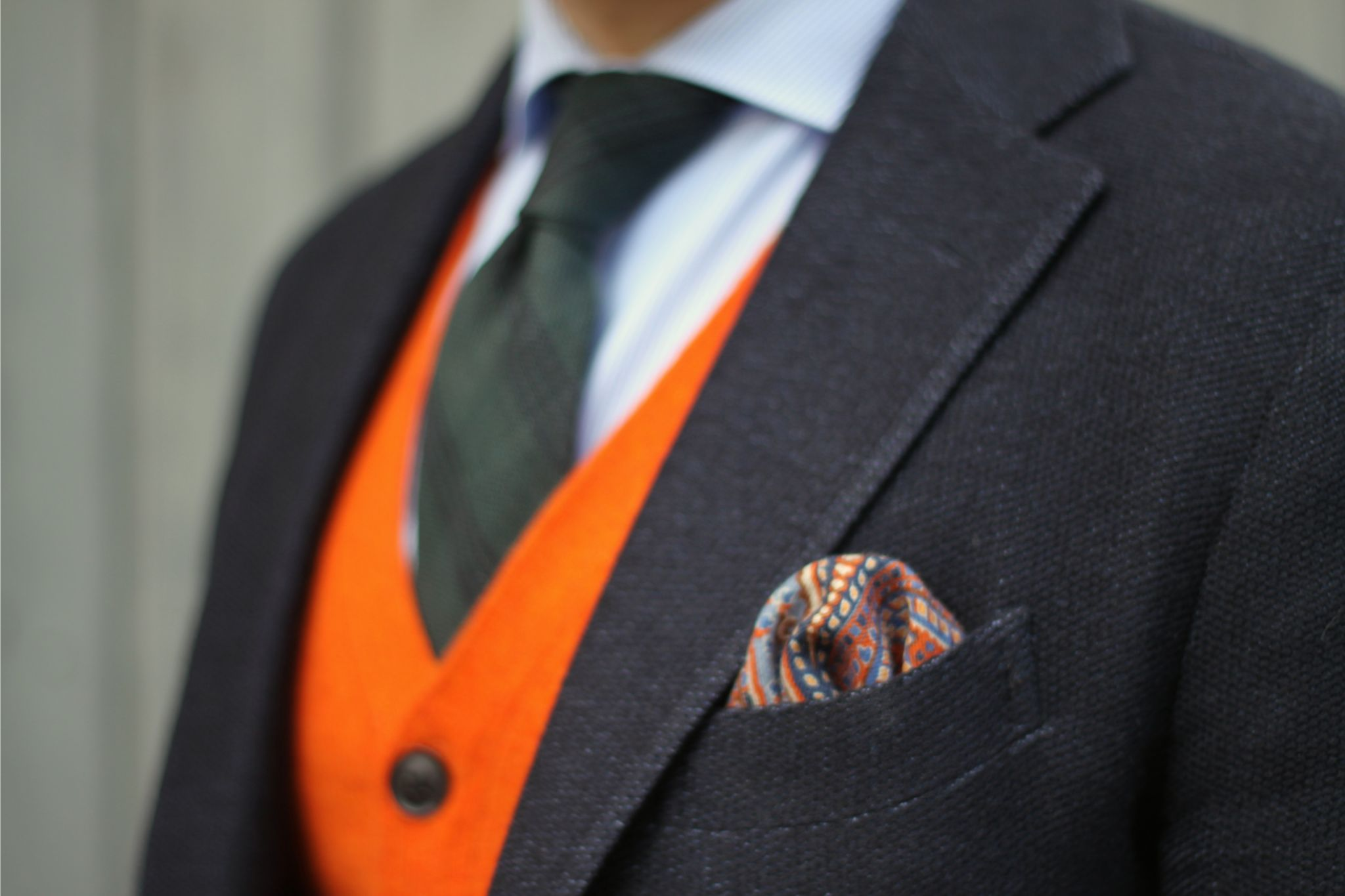 Cardigan with sport coat - pocket square details