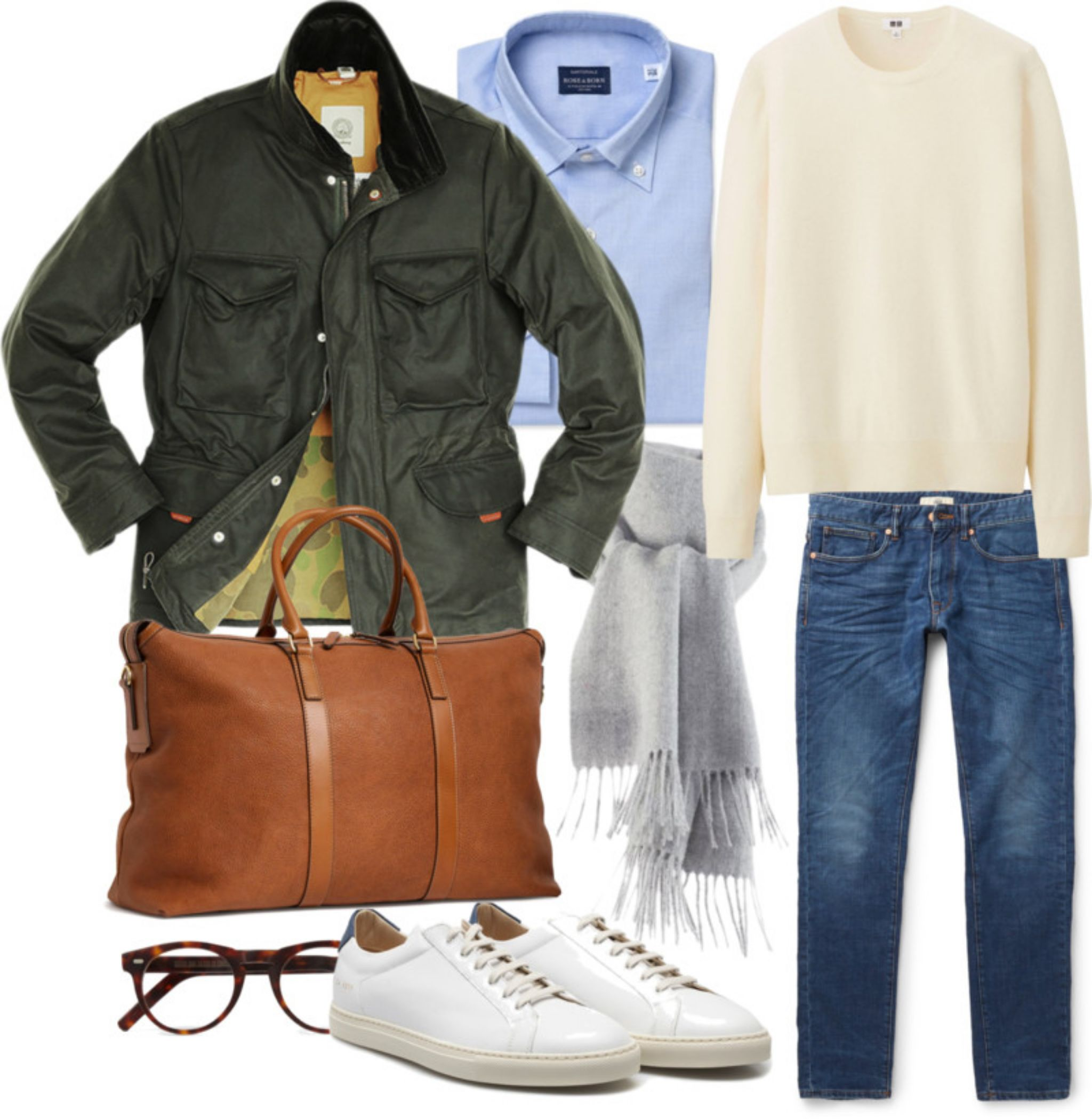 Outfit for casual weekend - cashmere knitwear with denim and field jacket