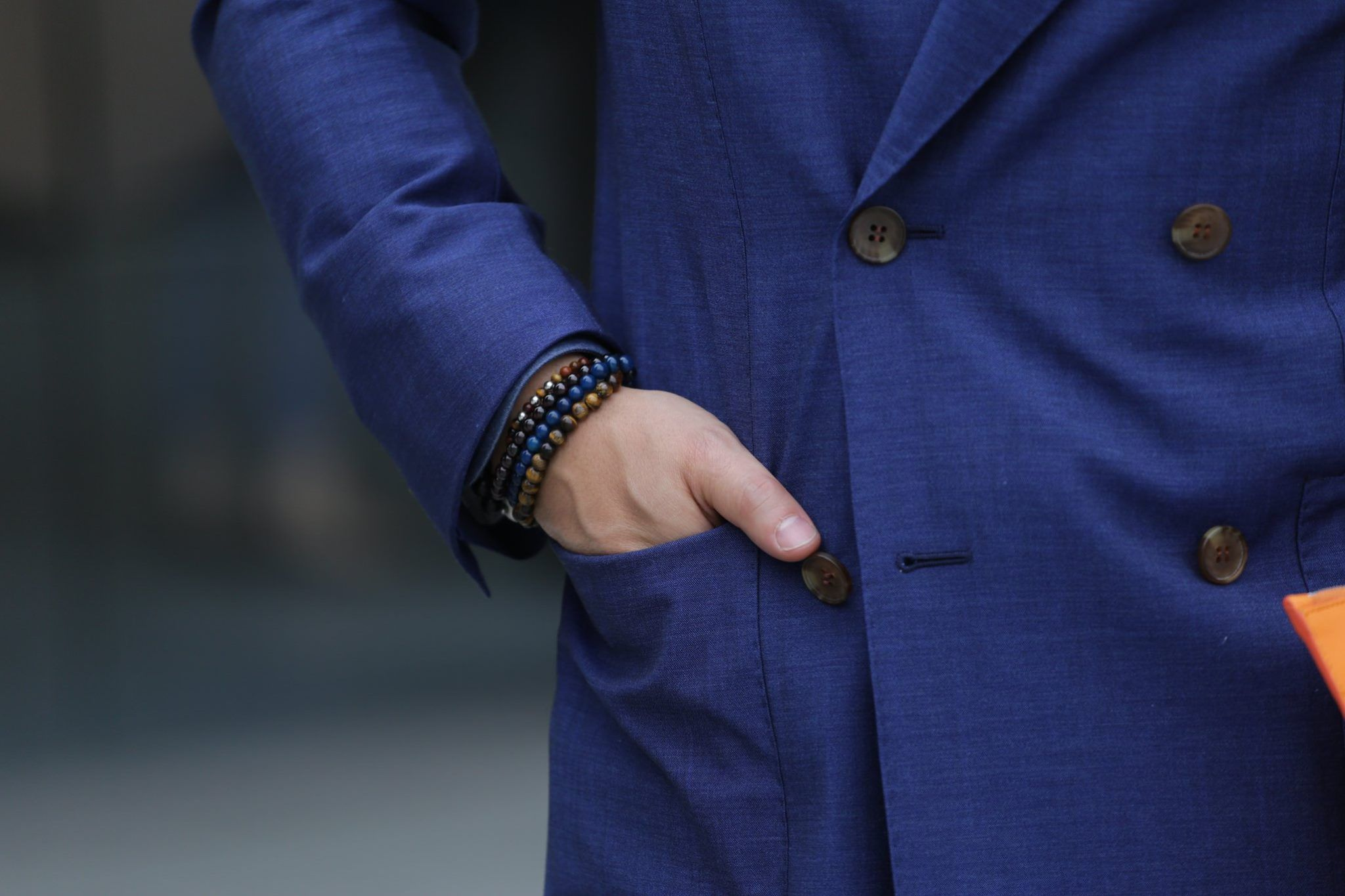 Patch pockets with business suit - details