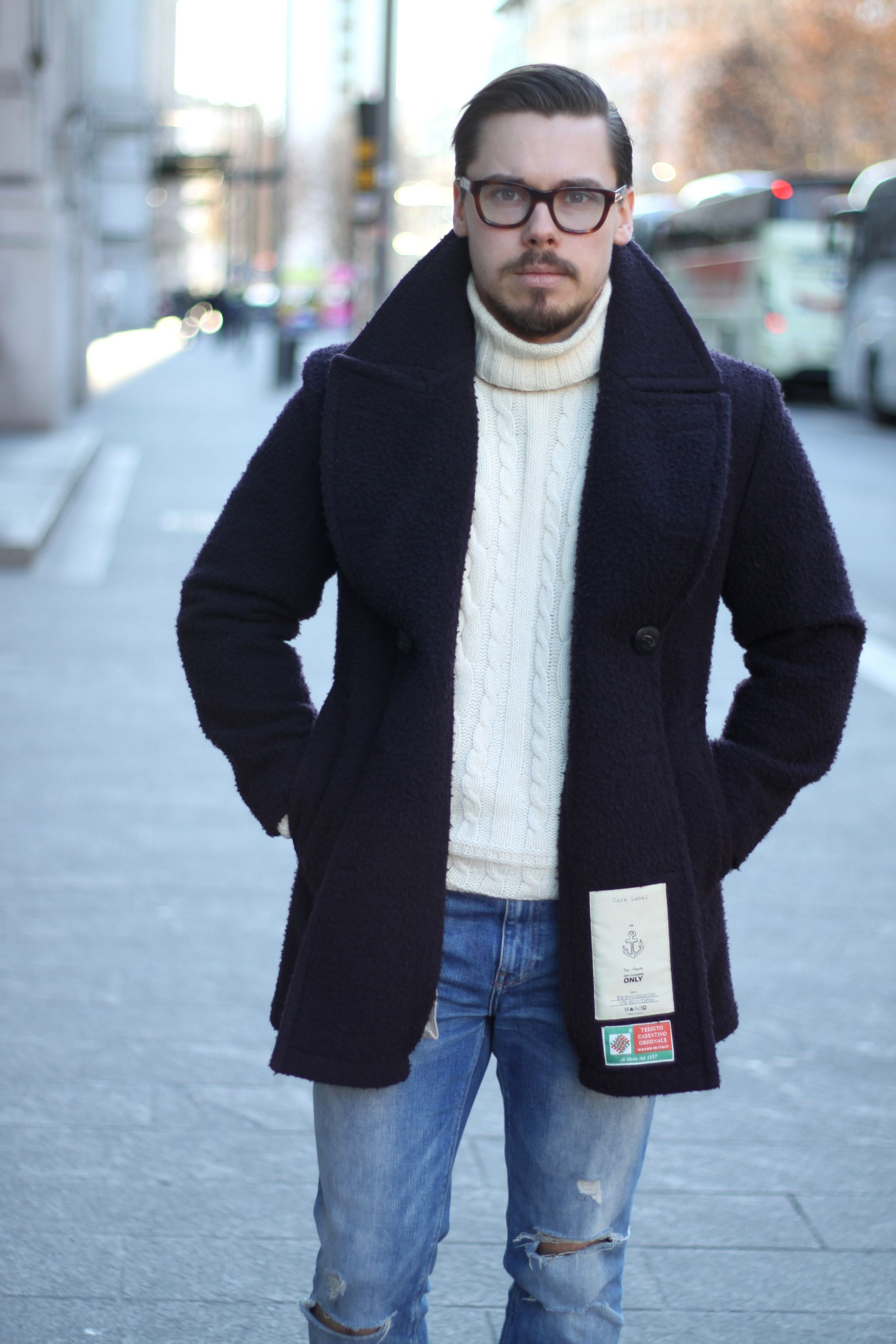 Peacoat with roll neck sweater and denim
