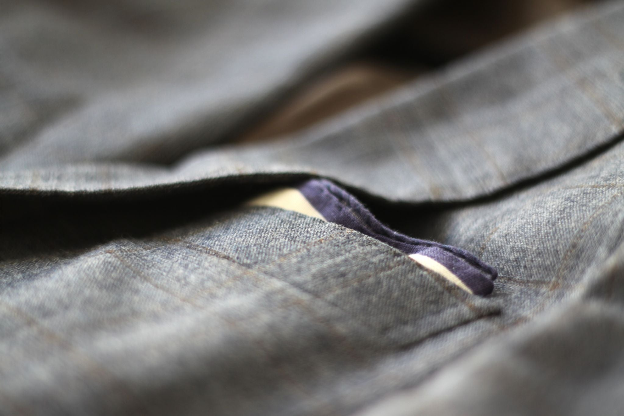 Pocket square with checked suit
