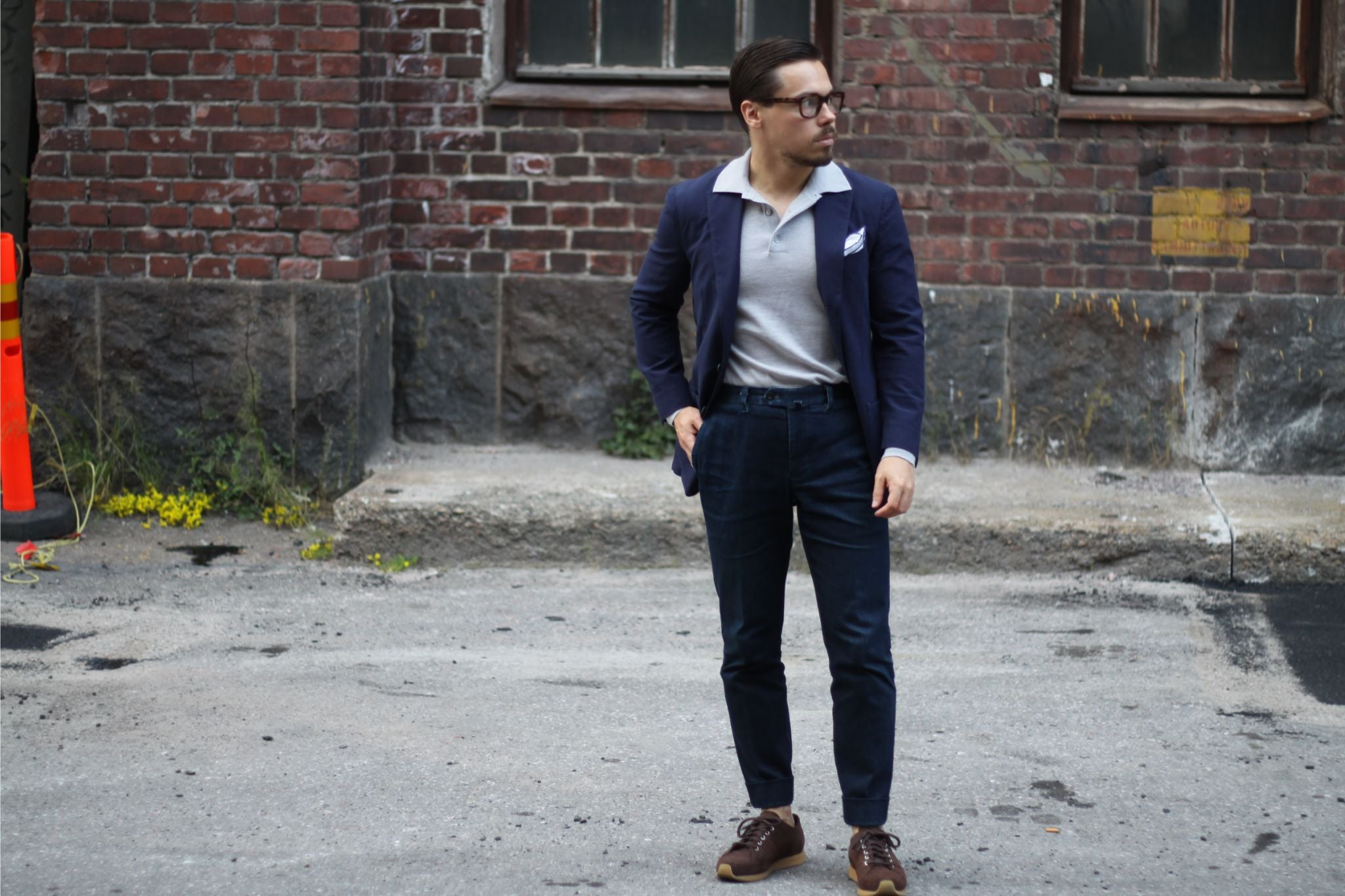 Polo shirt with denim and sport coat