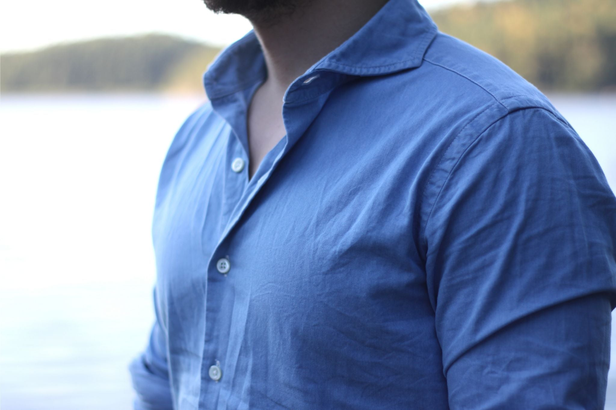 Proper Cloth denim shirt details - collar