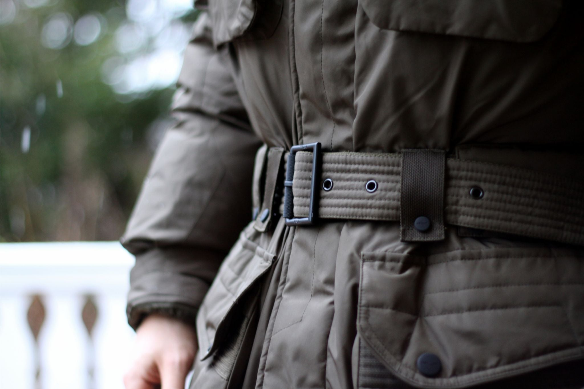 Ralph Lauren down parka jacket details - buckled self-belt