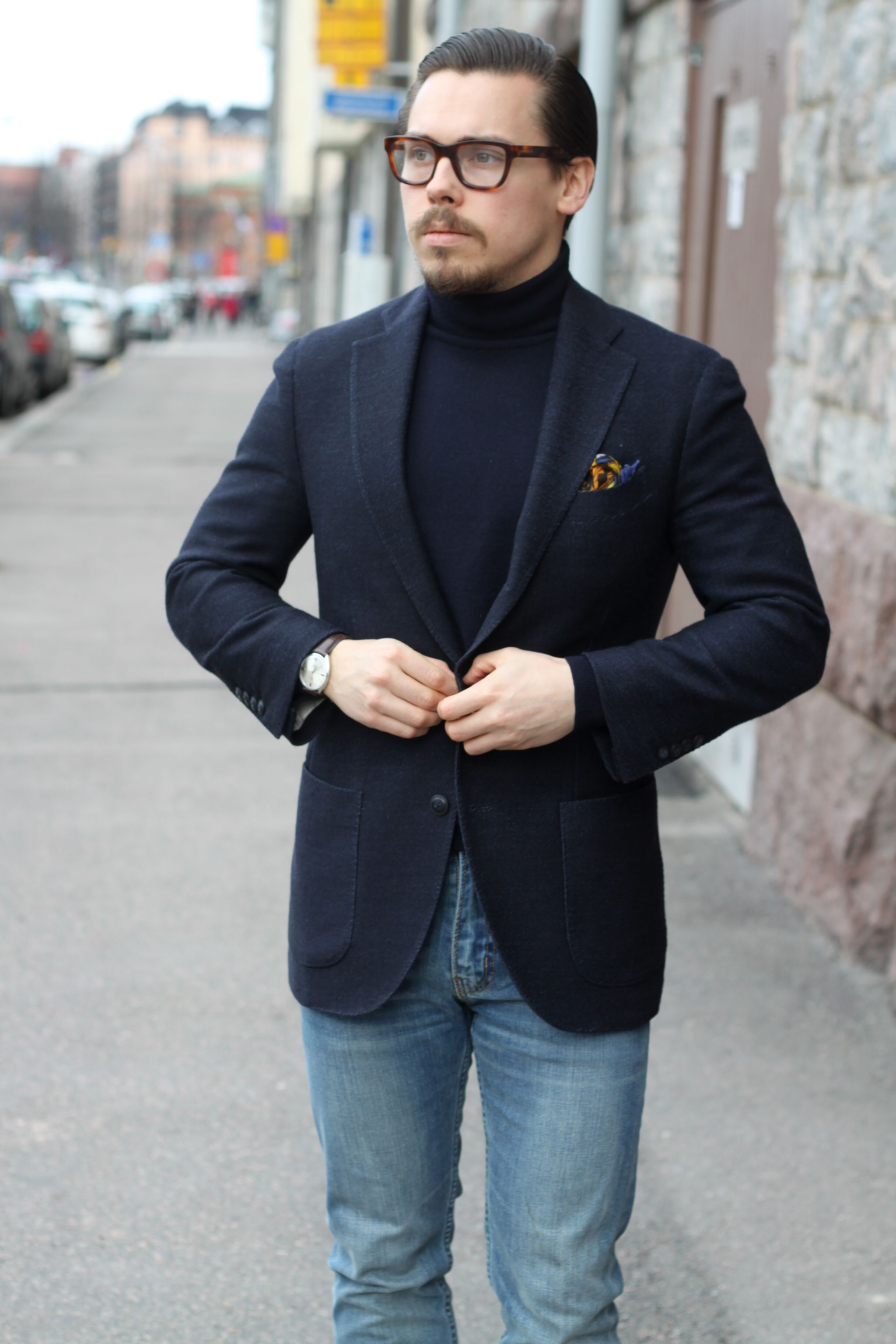 Rose&Born jersey blazer with denim